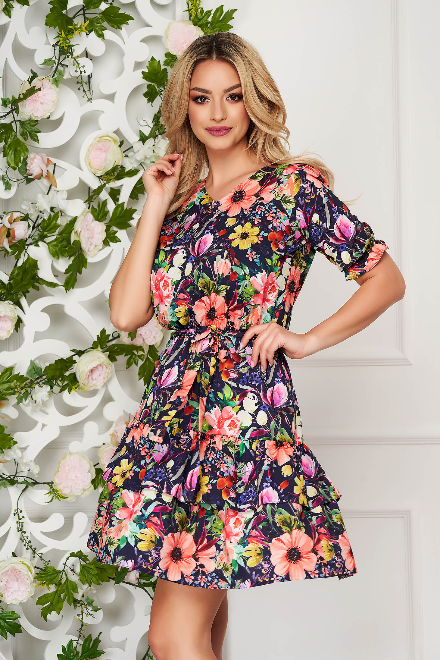 StarShinerS darkblue dress daily short cut thin fabric with floral print