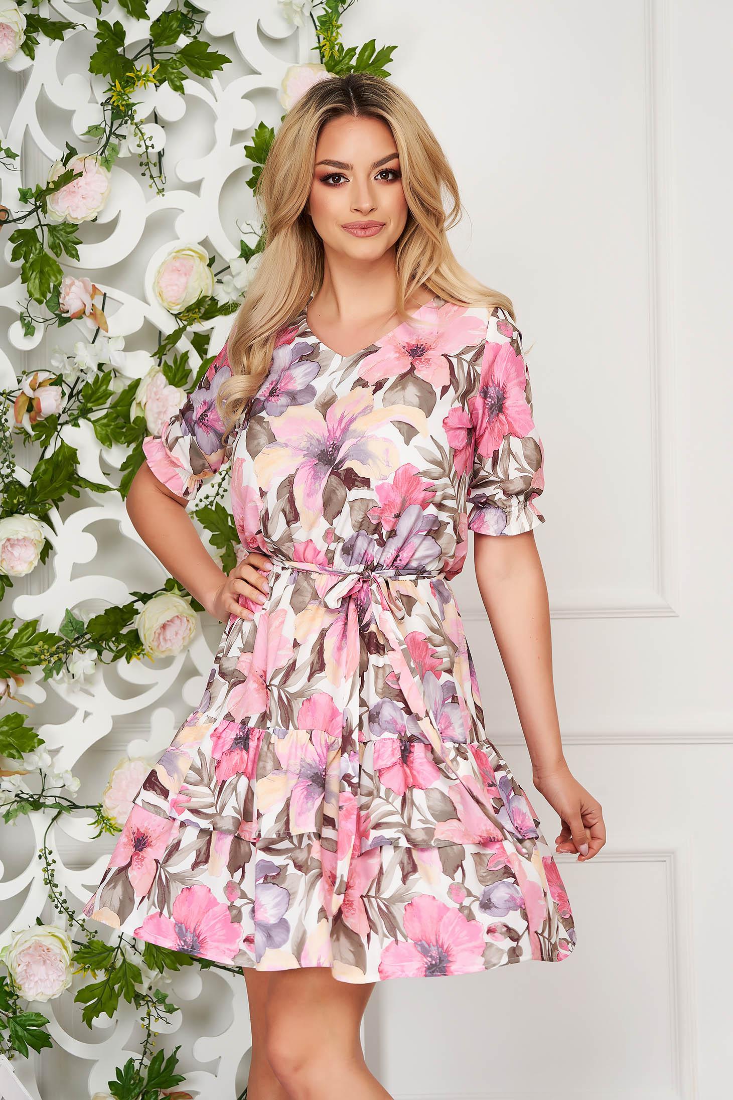 Rochie roz scurta de zi din material subtire cu imprimeu floral