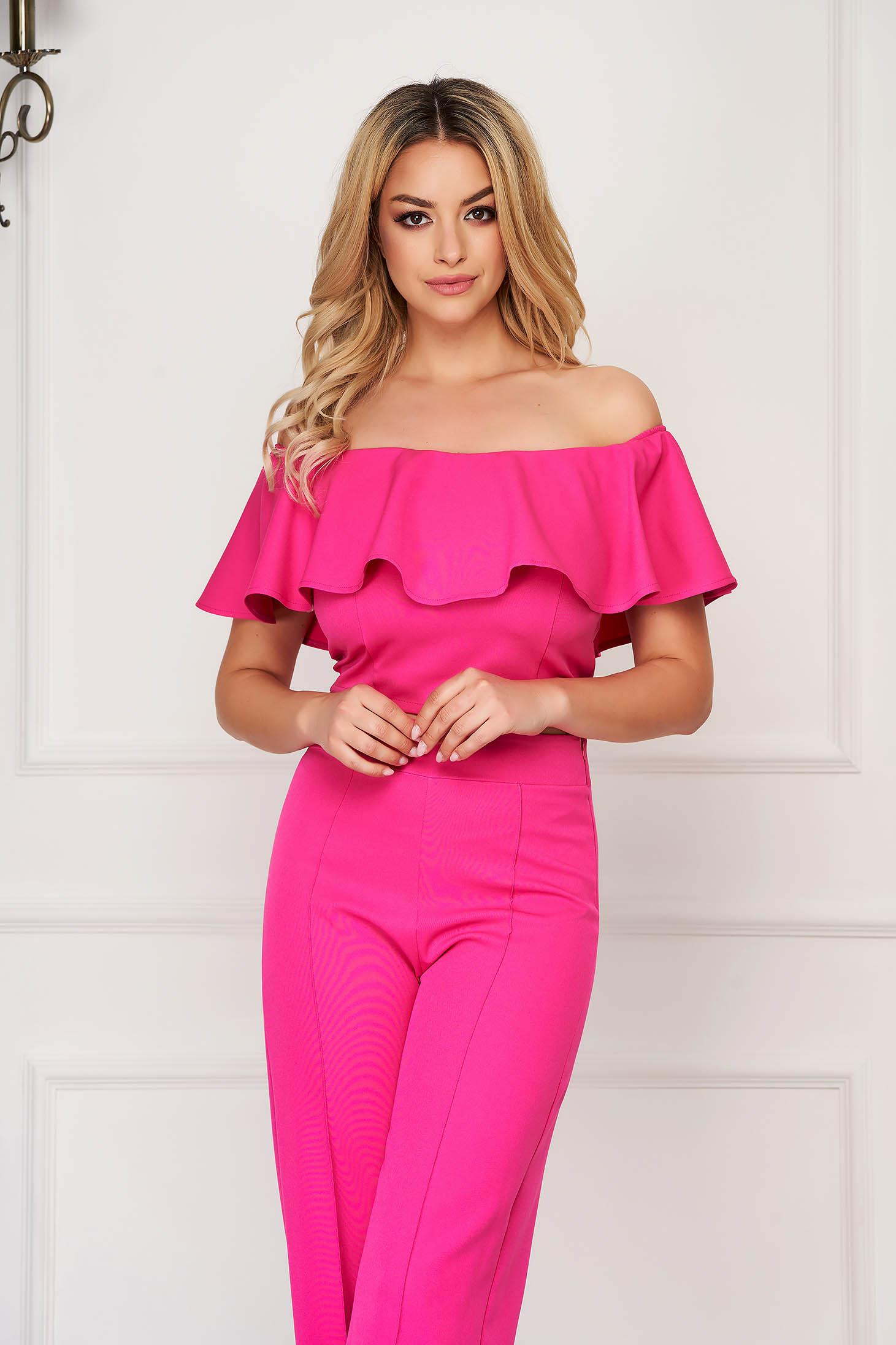 StarShinerS fuchsia top shirt elegant tented cloth short cut from elastic fabric naked shoulders
