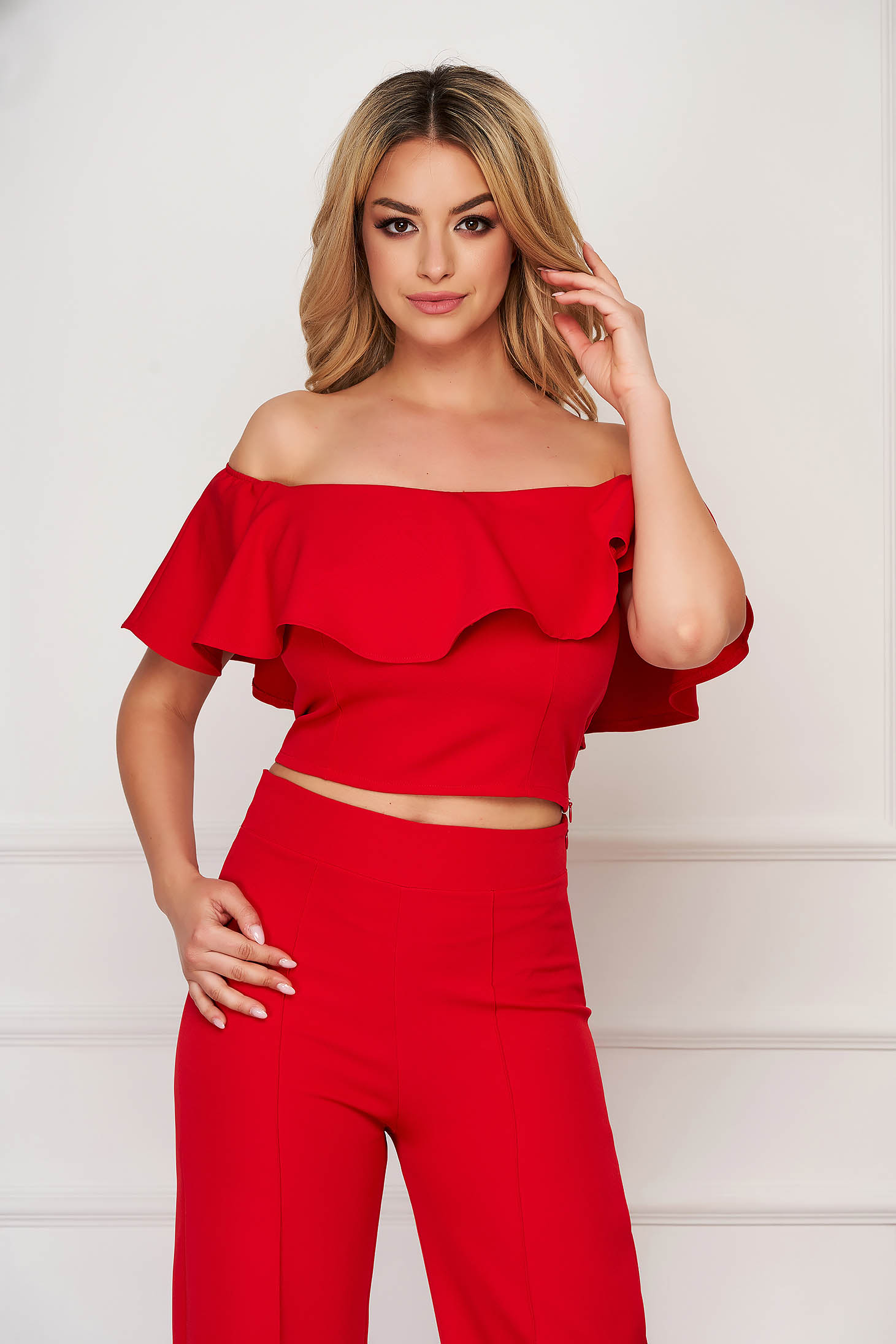 StarShinerS red top shirt tented cloth short cut from elastic fabric naked shoulders