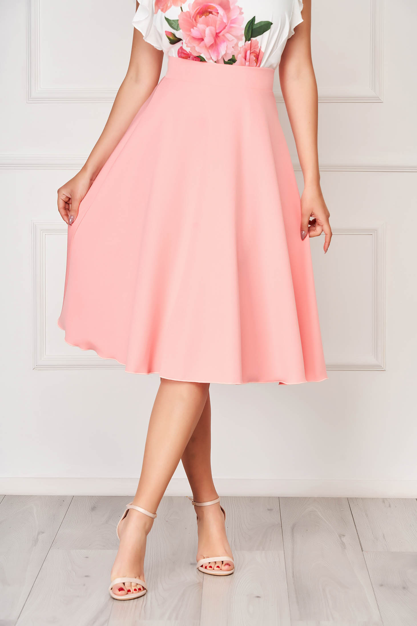 StarShinerS coral elegant midi cloche skirt without clothing