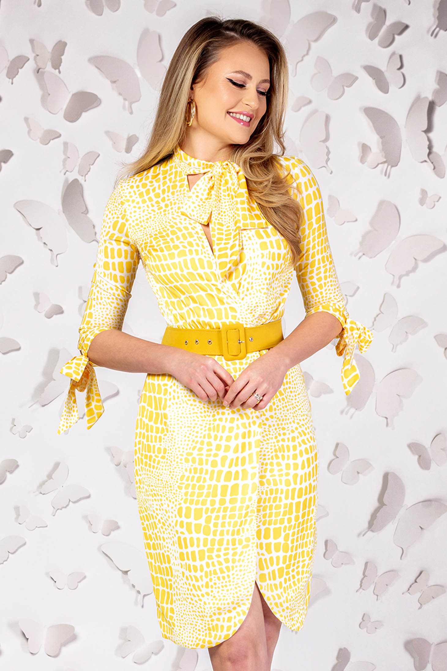 Yellow elegant short cut pencil dress with wrap over skirt