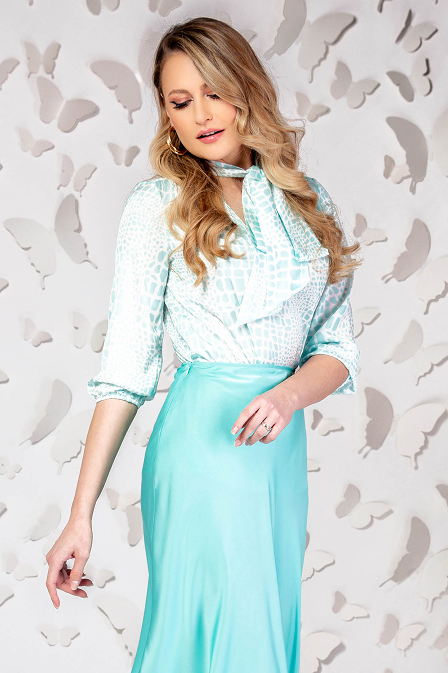 Turquoise women`s blouse elegant flared from satin with 3/4 sleeves