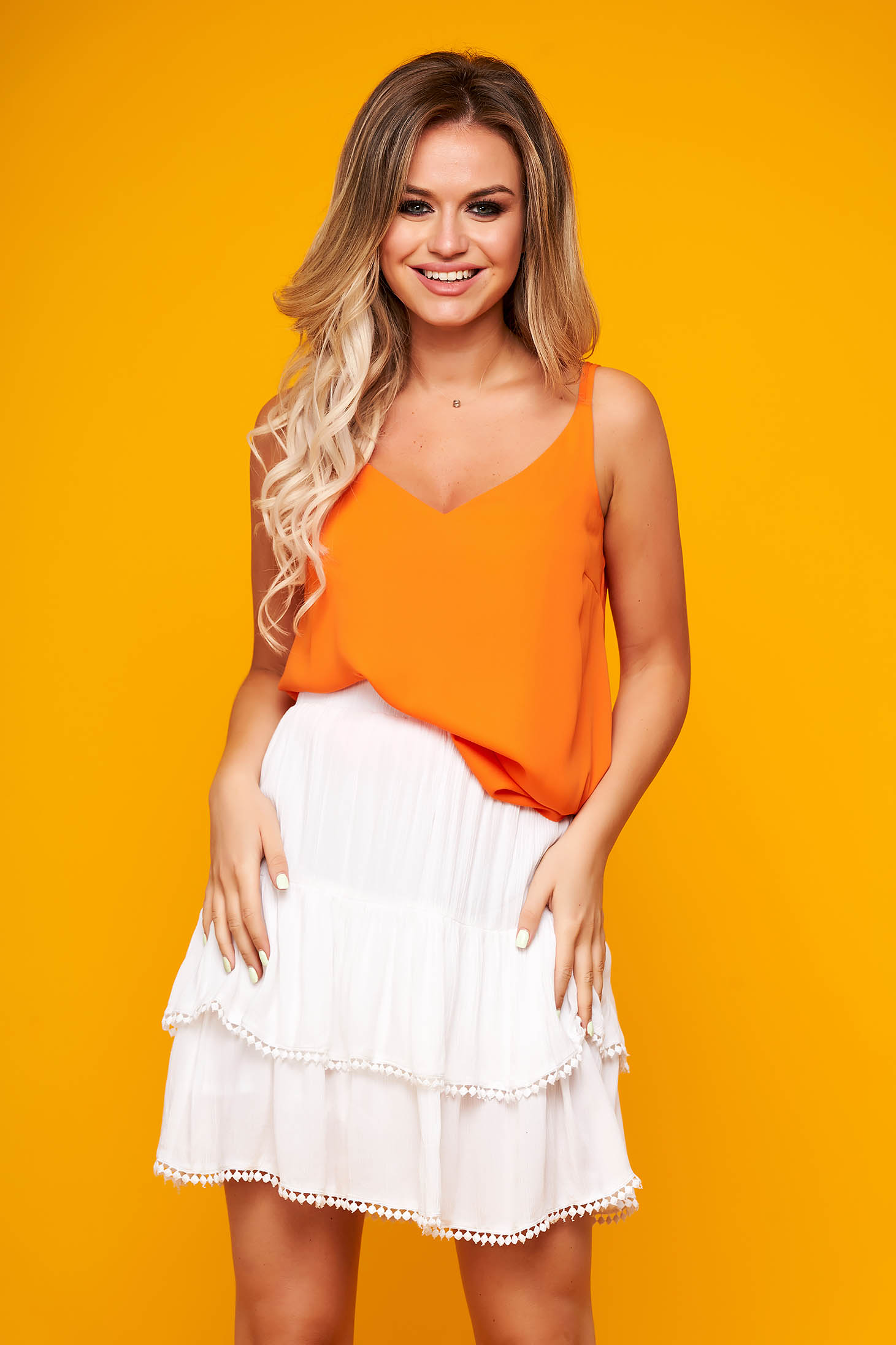 Orange top shirt casual from veil fabric with straps flared