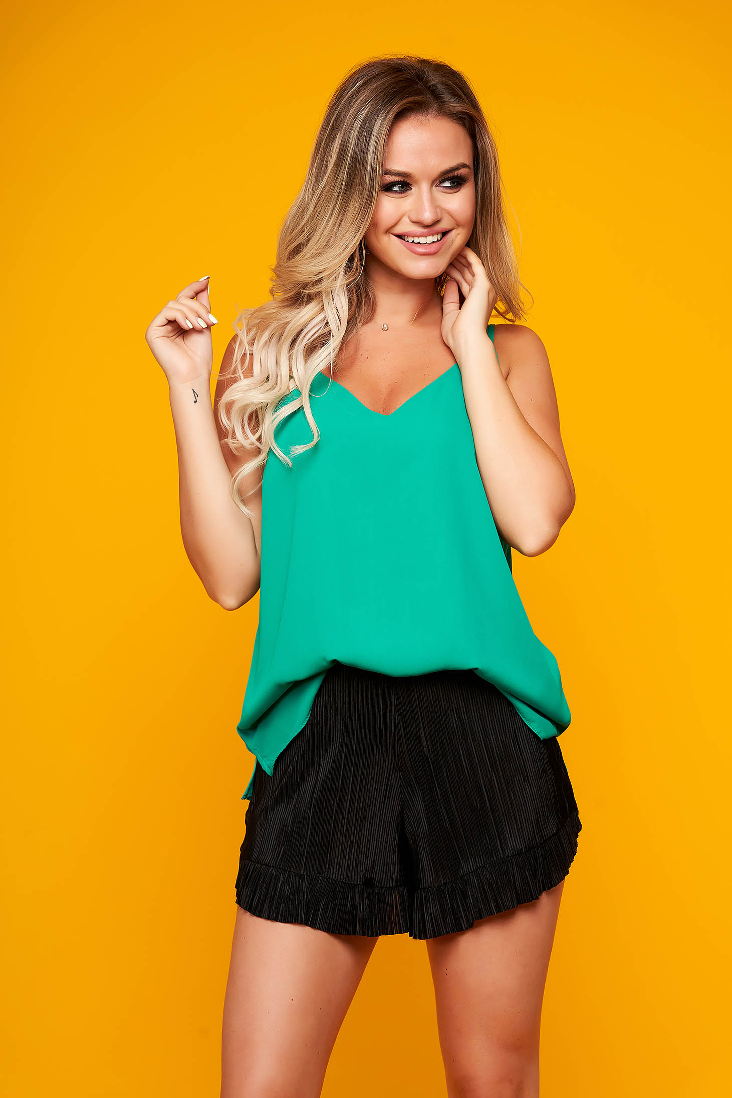 Green top shirt casual from veil fabric with straps flared
