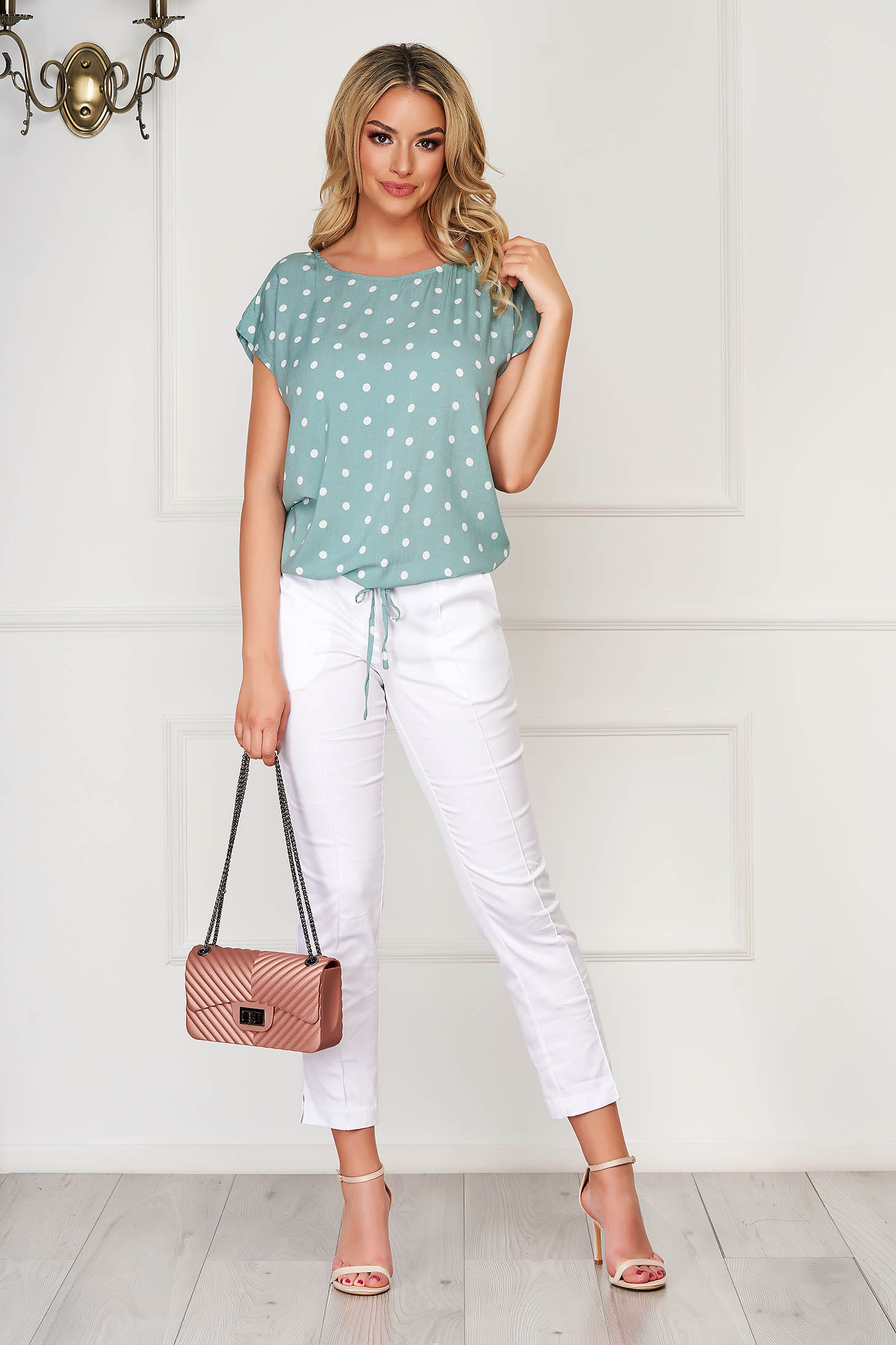 Green women`s blouse casual short cut flared thin fabric dots print