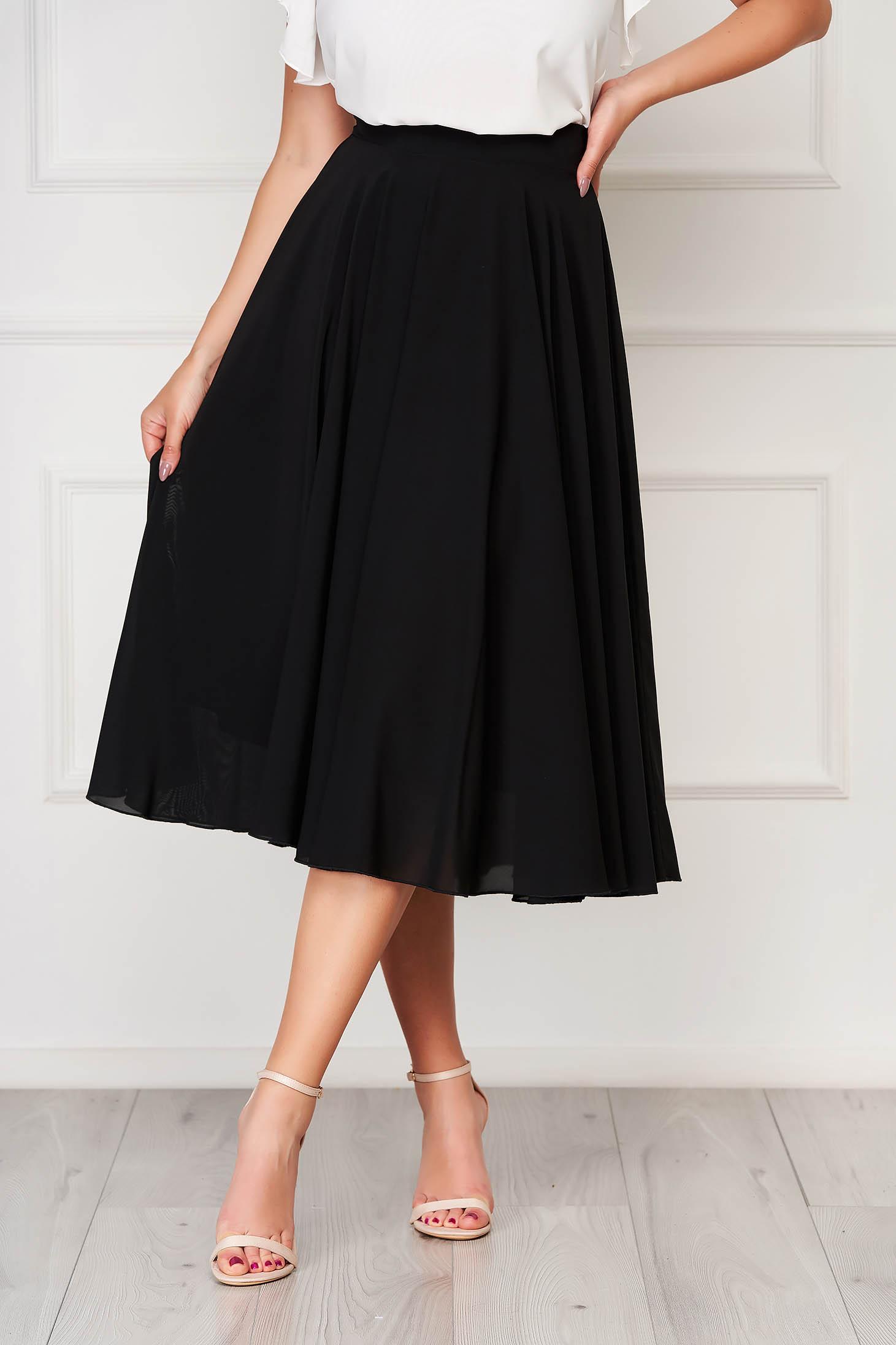 StarShinerS black skirt elegant midi cloche from veil fabric high waisted