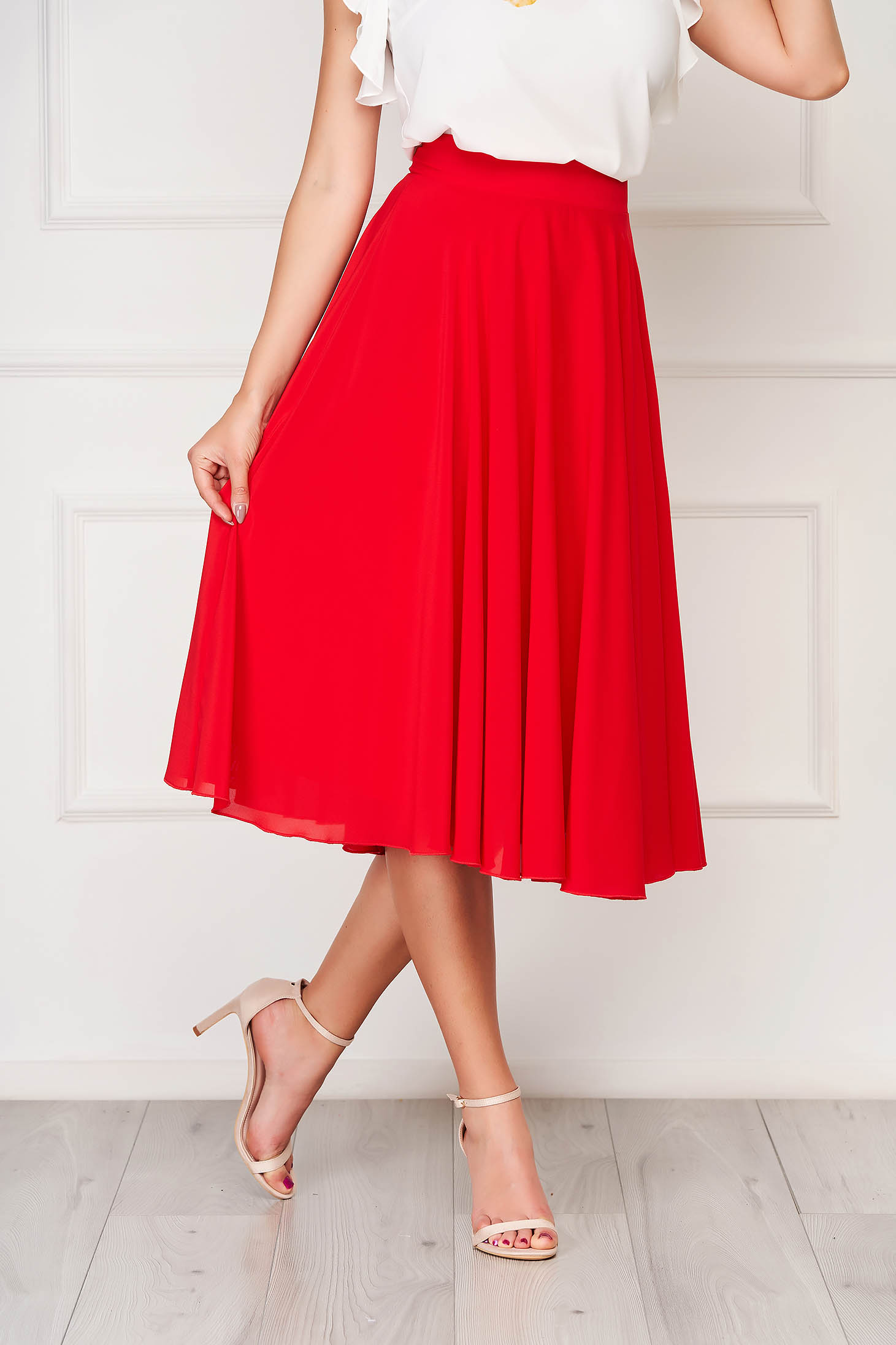 StarShinerS red skirt elegant midi cloche from veil fabric high waisted