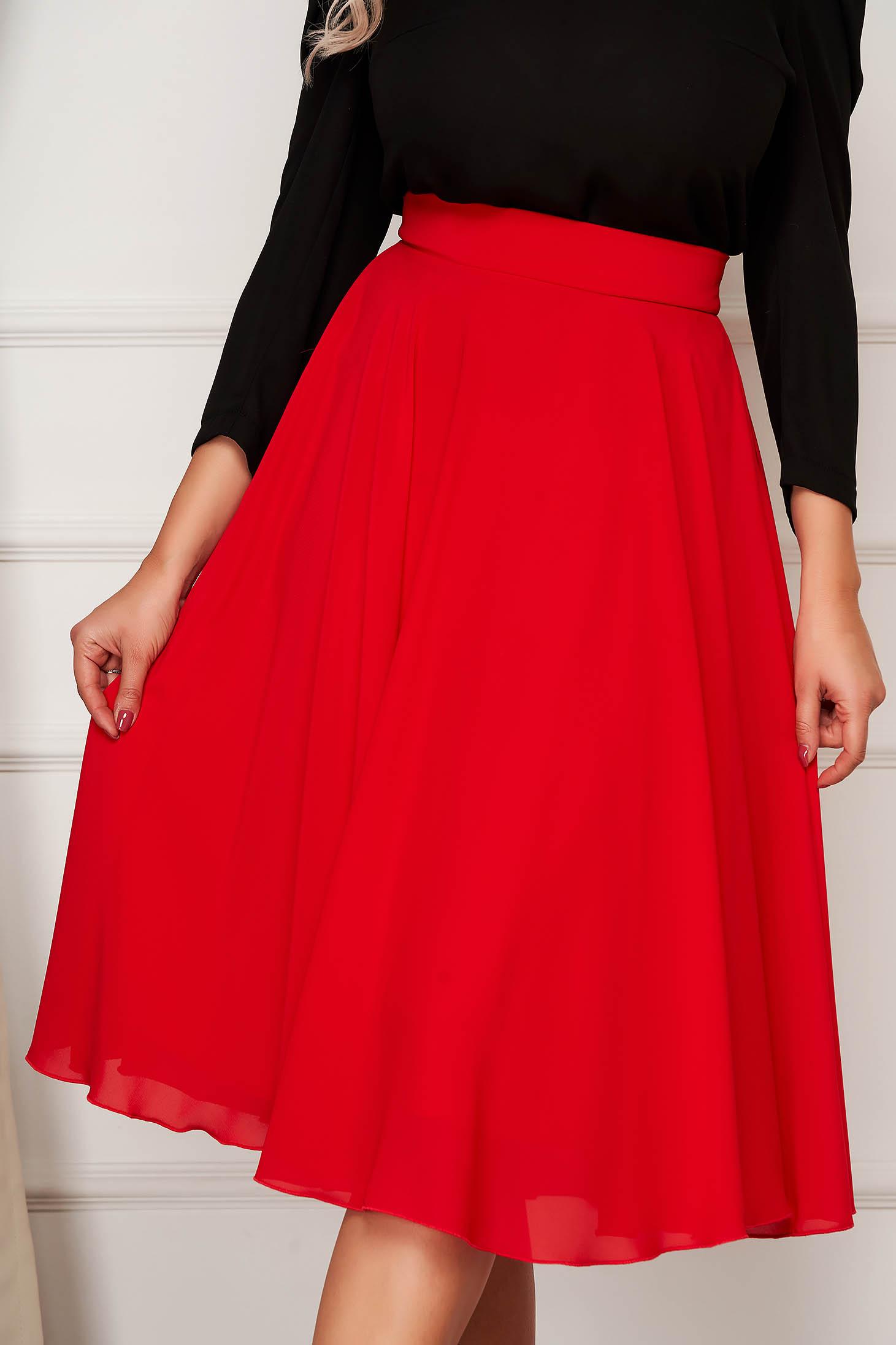 StarShinerS red skirt elegant midi cloche from veil fabric high waisted