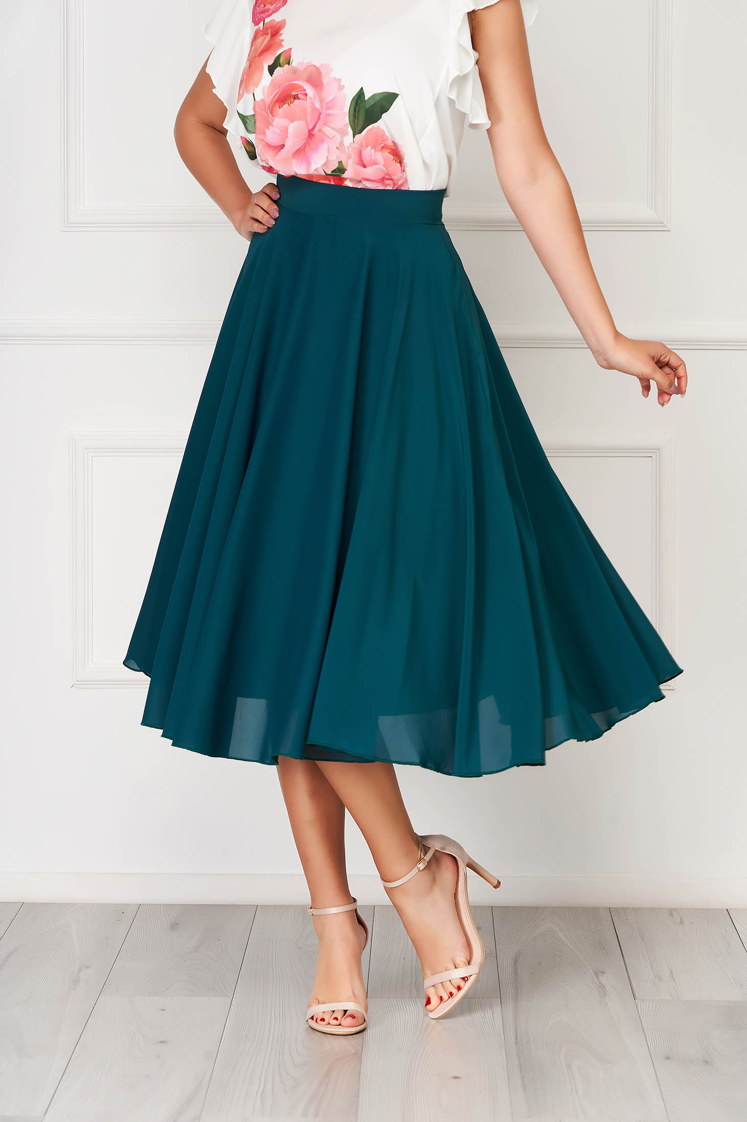 StarShinerS green skirt elegant midi cloche from veil fabric high waisted