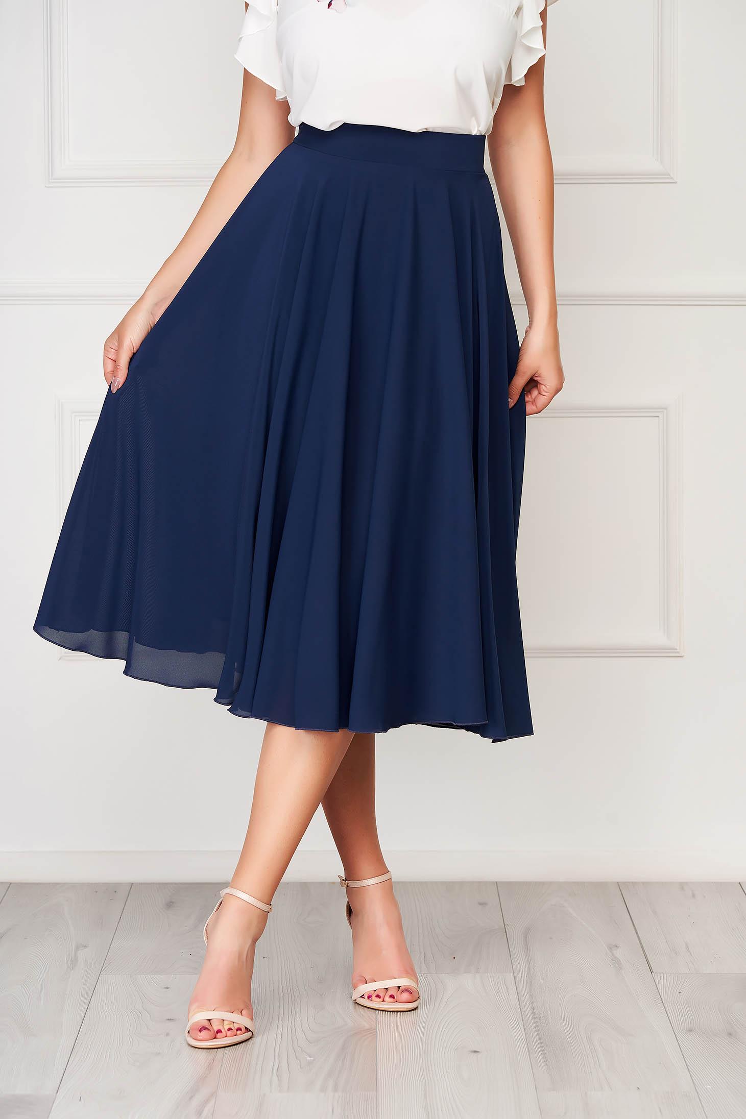 StarShinerS darkblue skirt elegant midi cloche from veil fabric high waisted