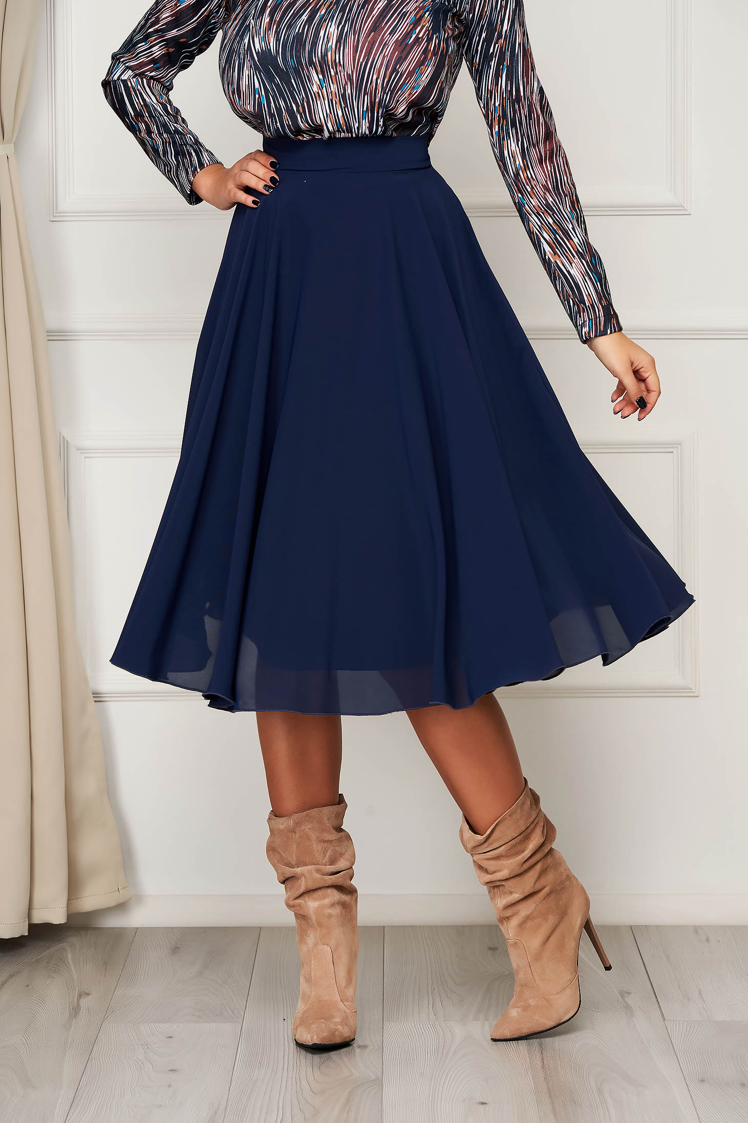 StarShinerS darkblue skirt elegant midi cloche from veil fabric high waisted