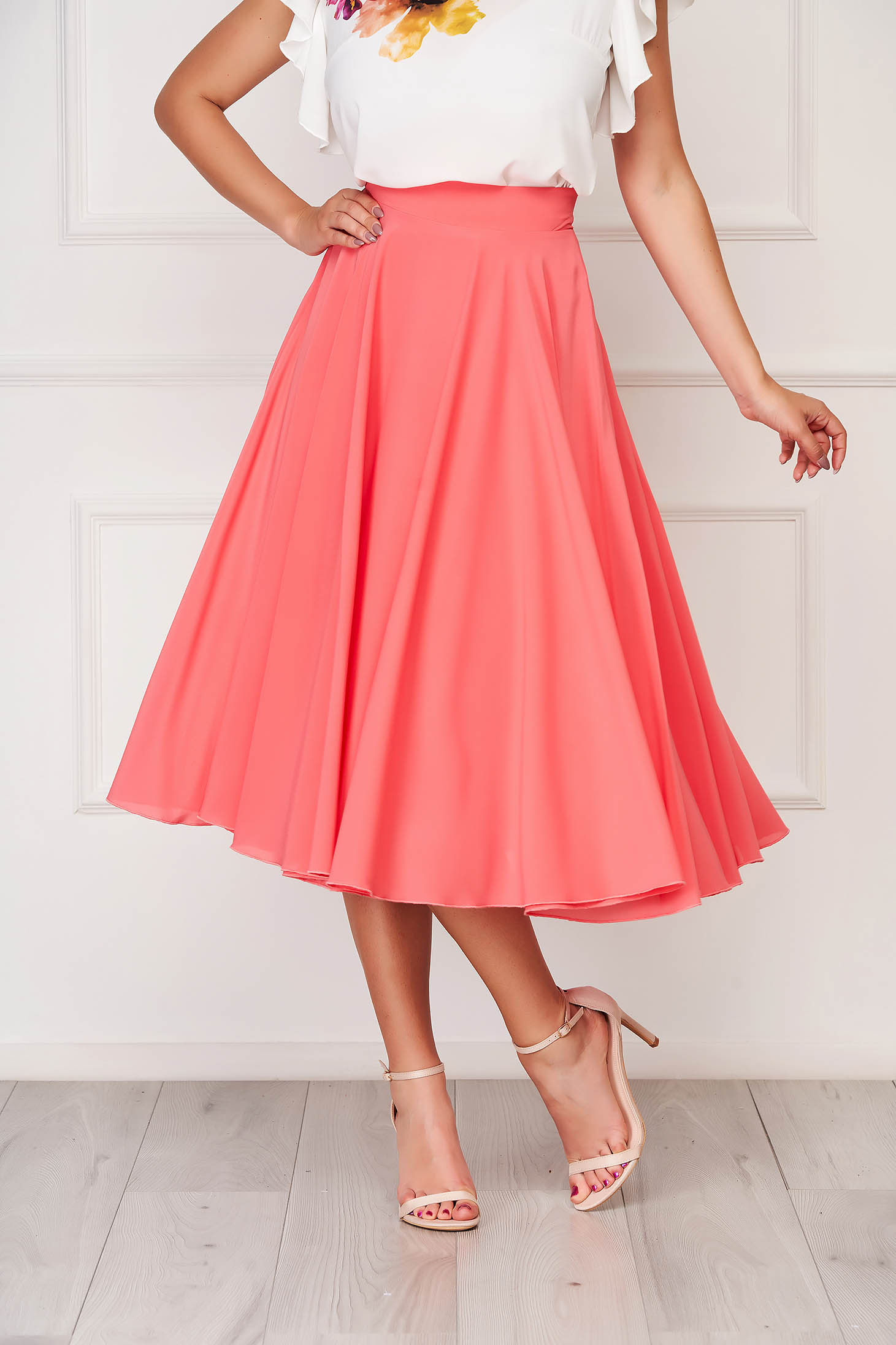 StarShinerS coral skirt elegant midi cloche from veil fabric high waisted
