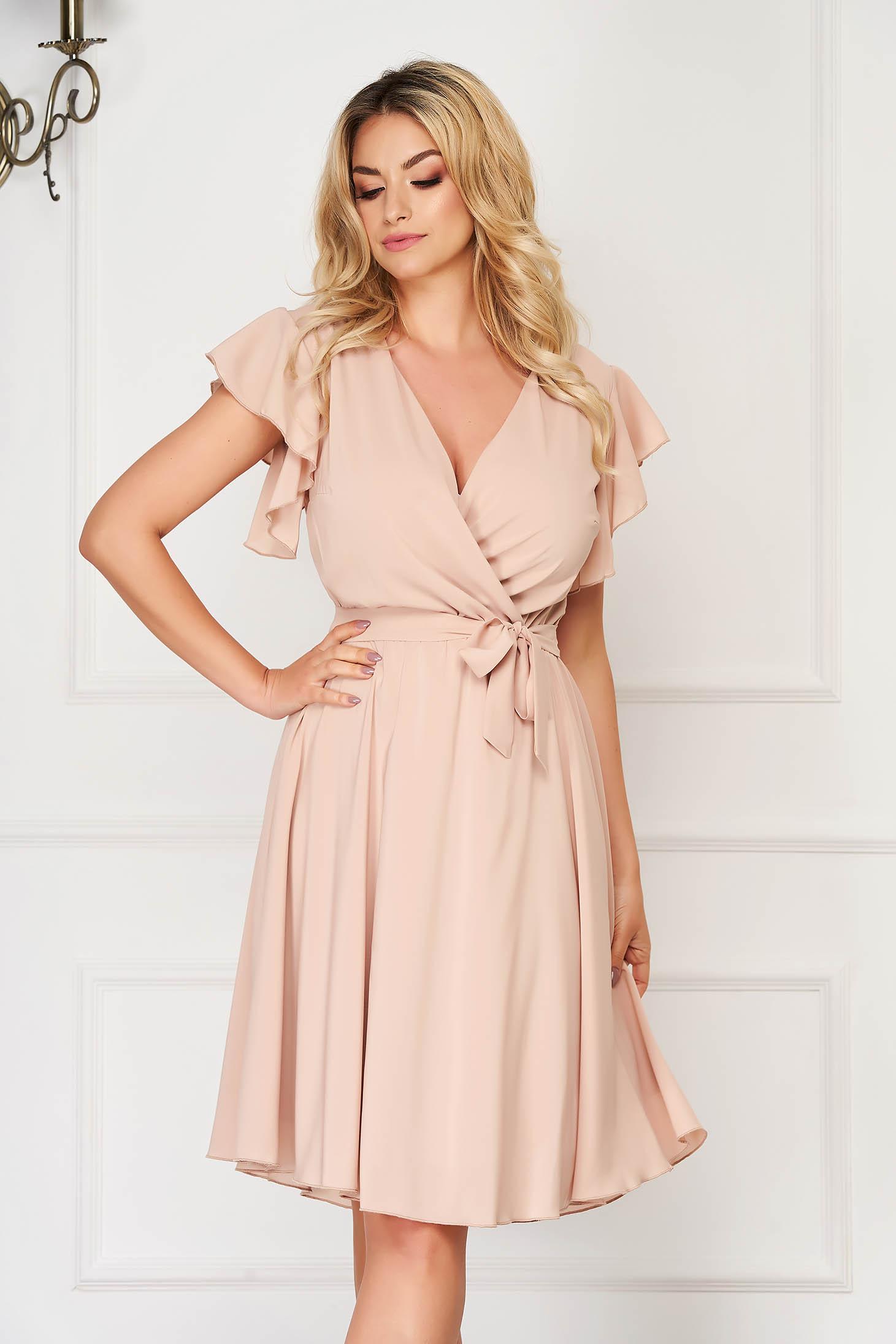 StarShinerS cream dress elegant midi from veil fabric with deep cleavage