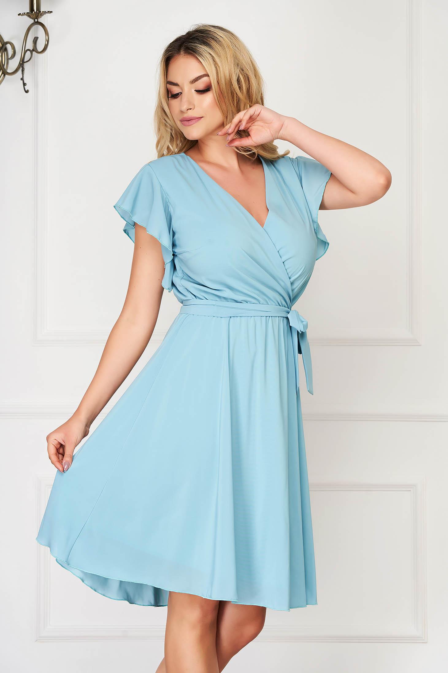 StarShinerS mint dress elegant midi from veil fabric with deep cleavage