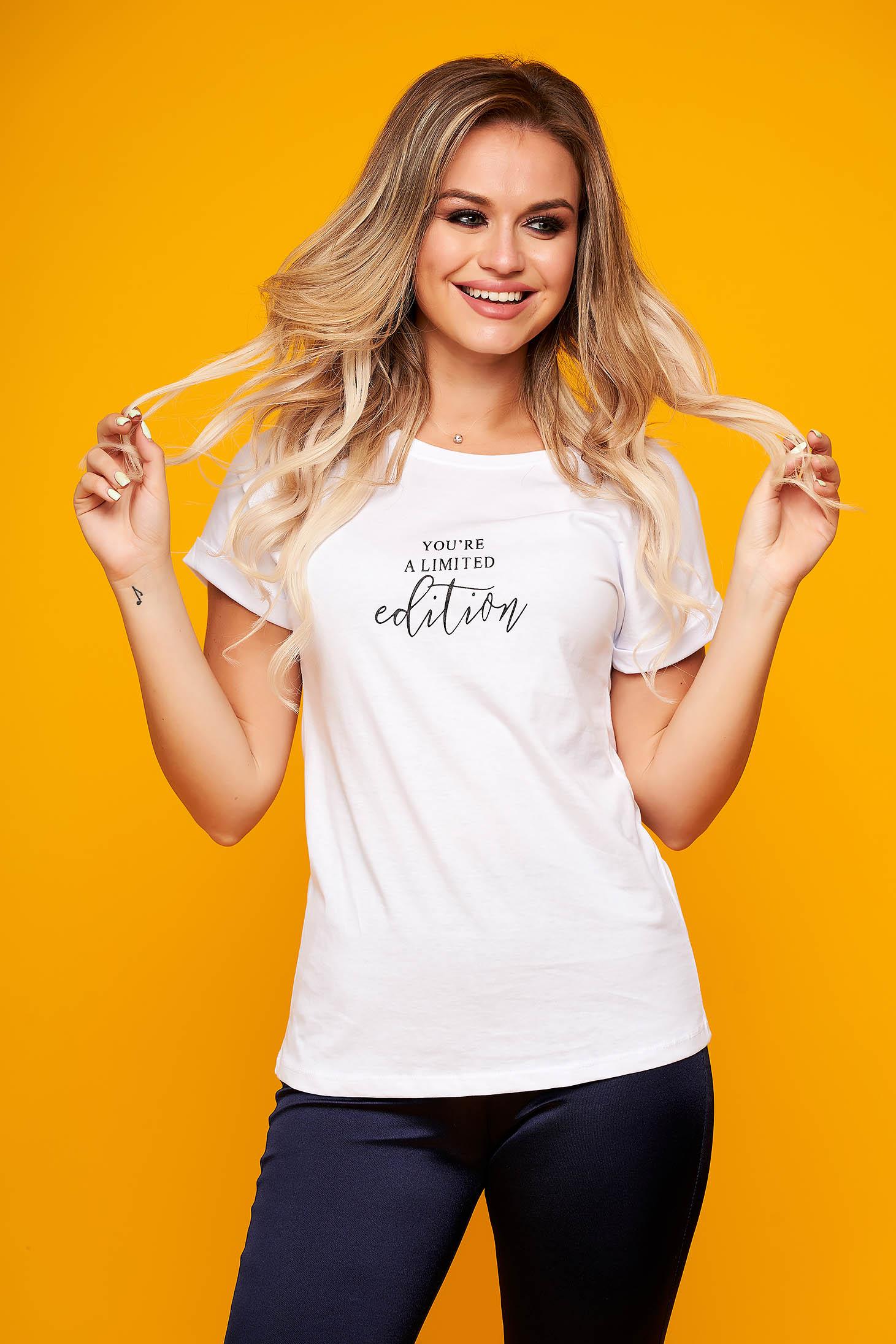 Tricou SunShine alb casual cu croi larg si mesaje