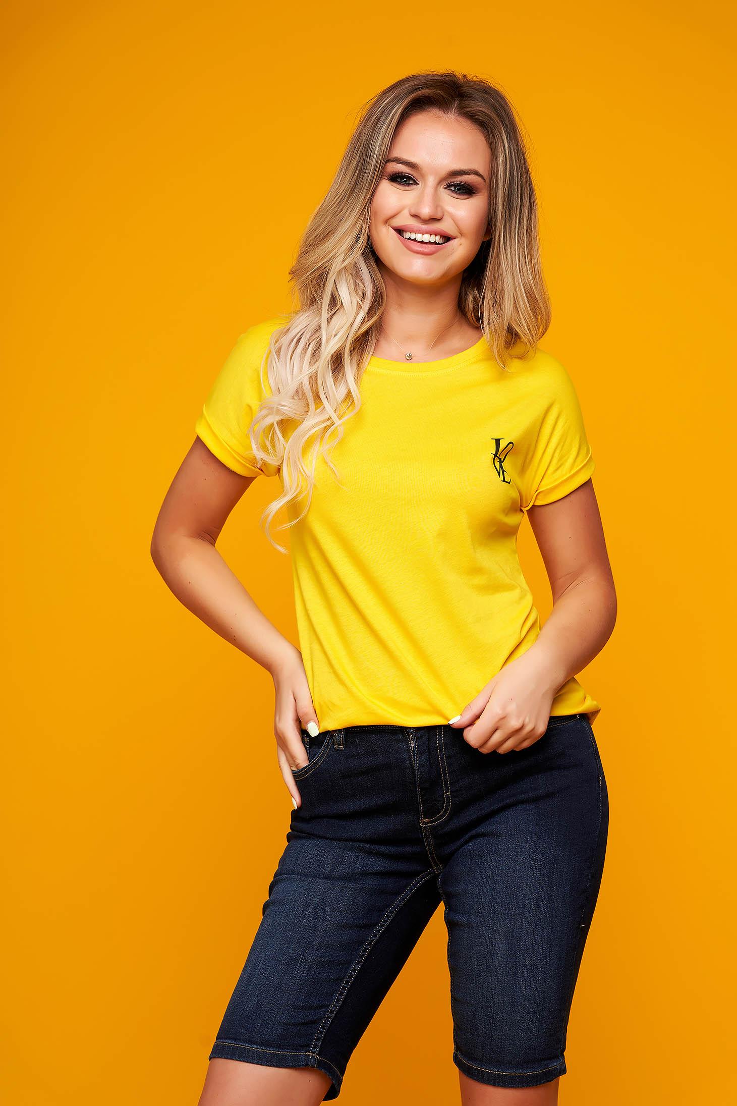 Tricou SunShine galben casual cu croi larg si maneci scurte