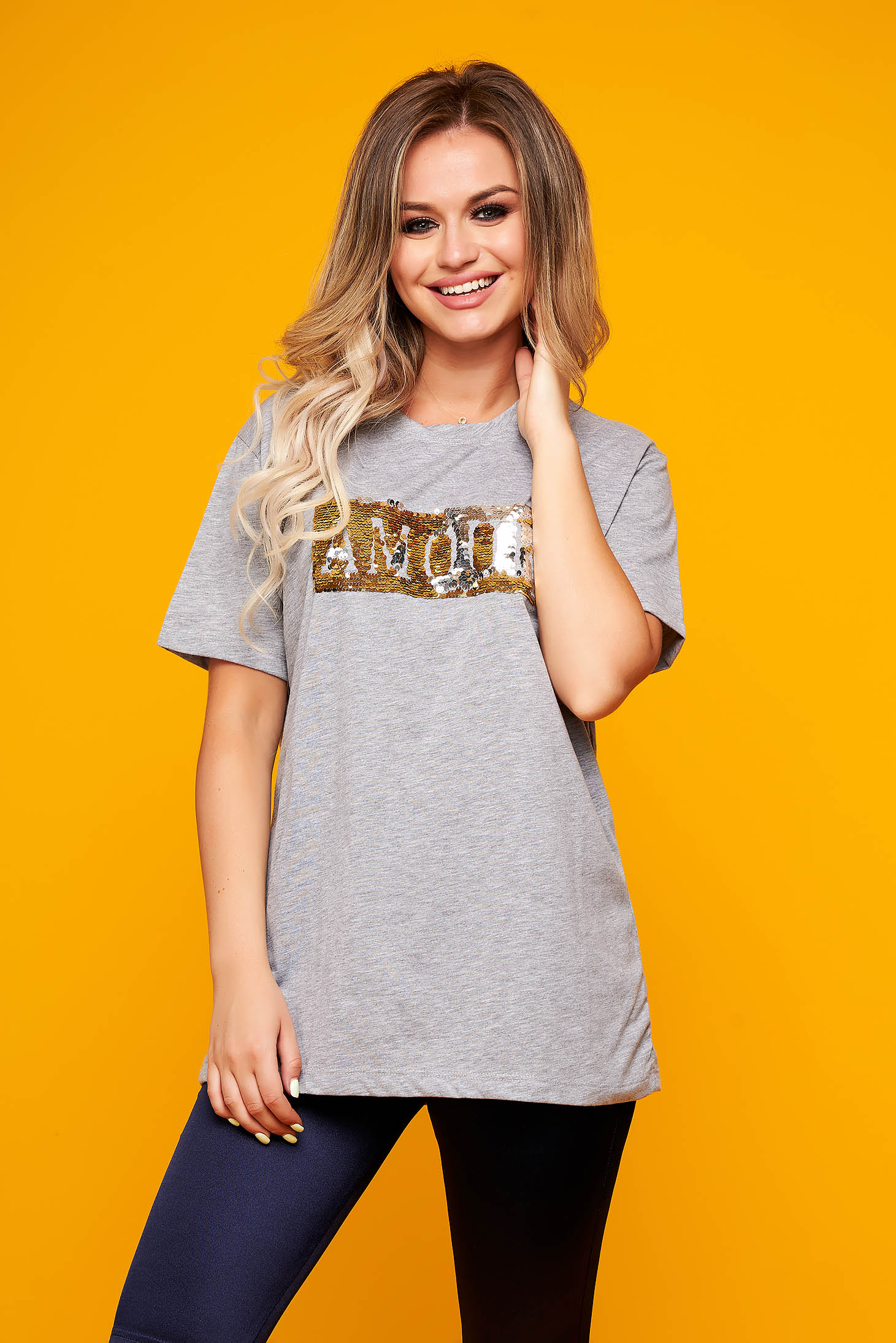 Grey t-shirt casual flared long with sequin embellished details