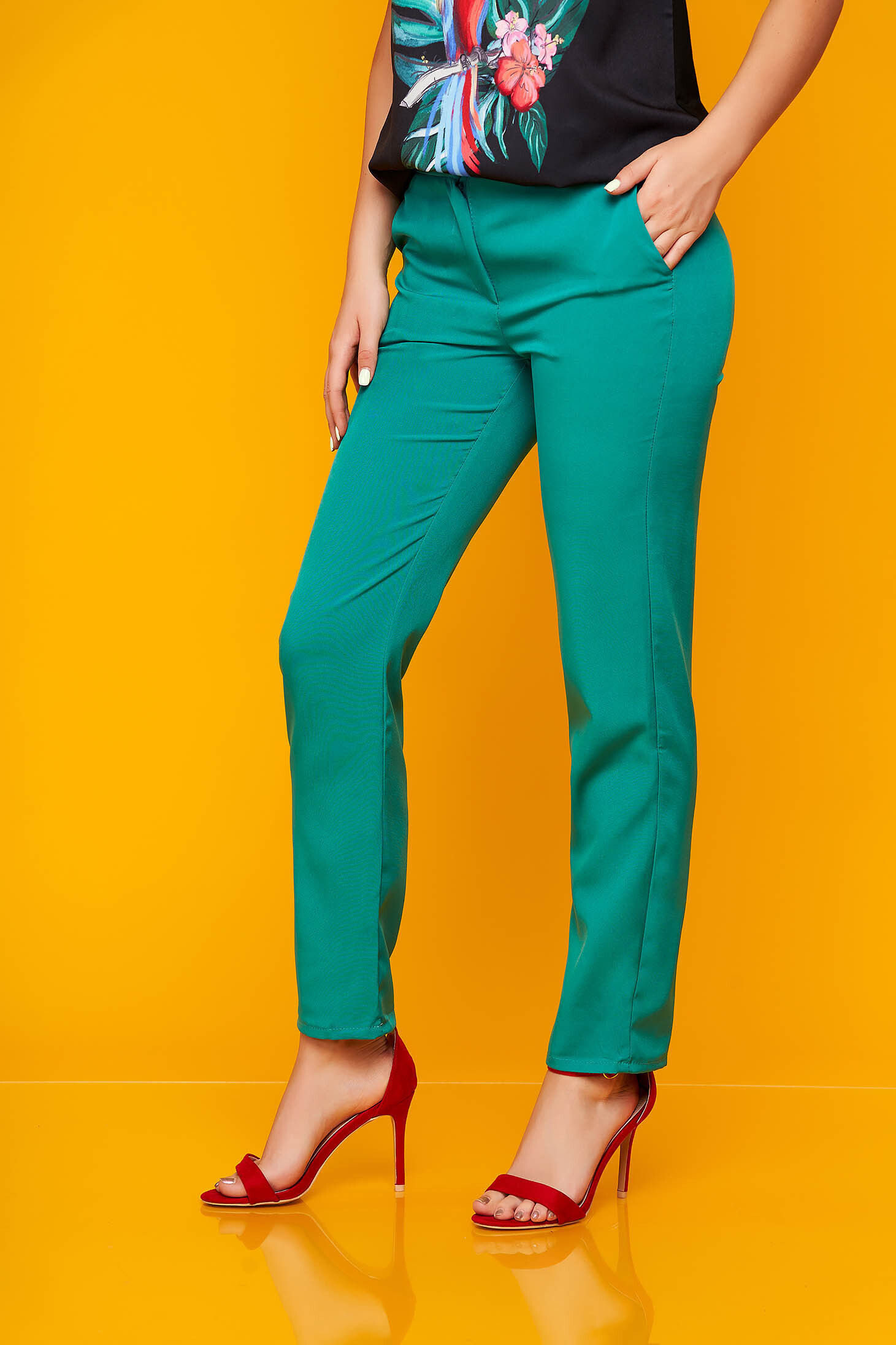 Trousers green office cloth straight with pockets