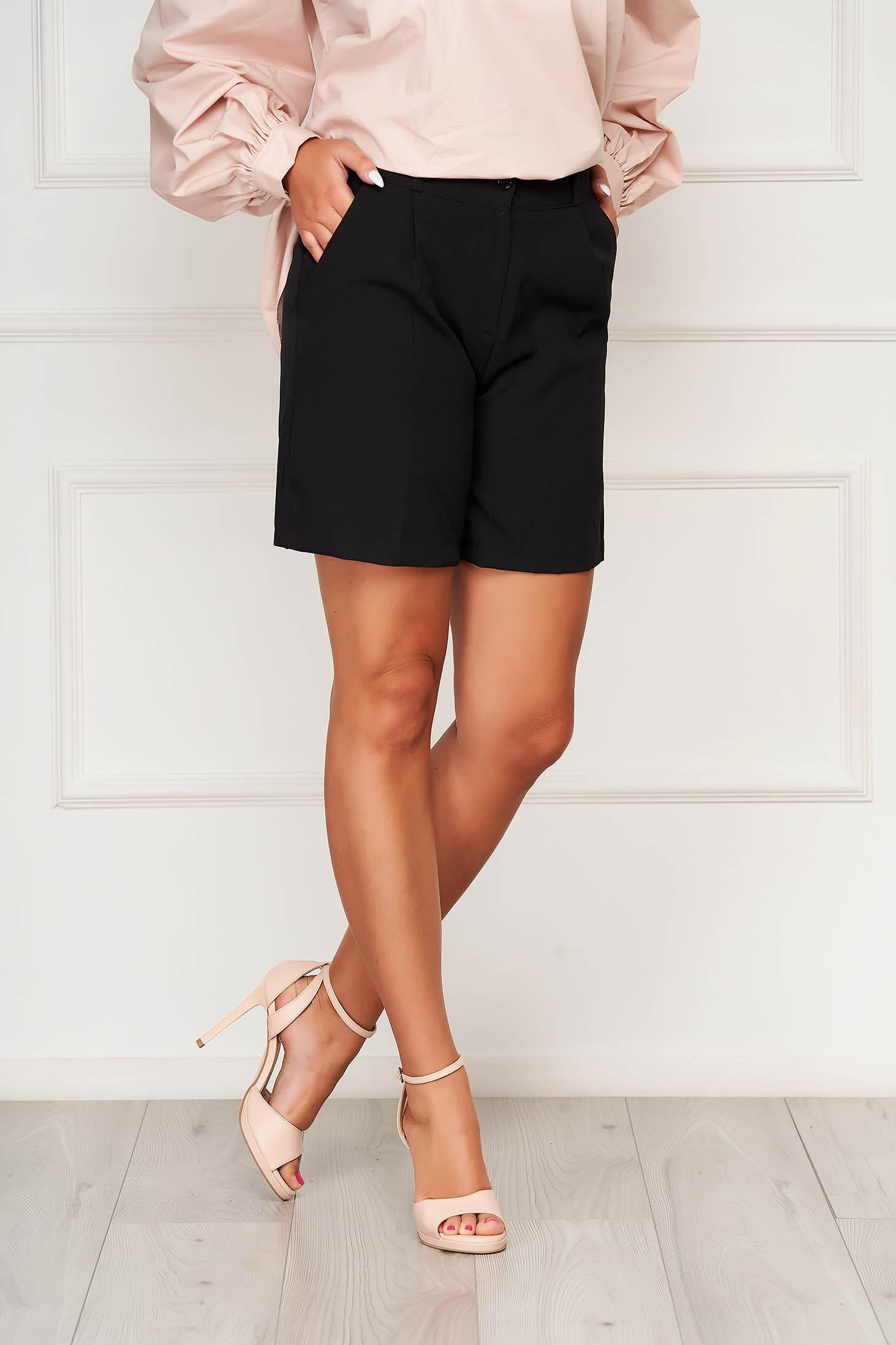 Fekete casual szűk szabású zsebes rövidnadrág rugalmas szövetből