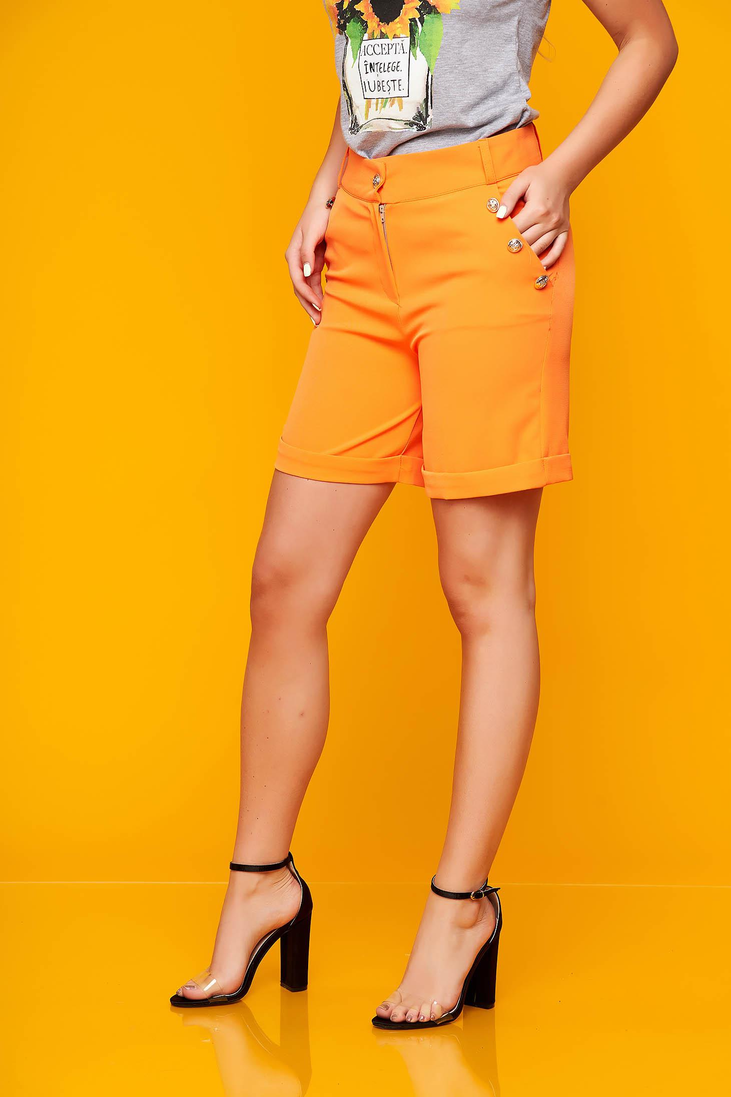 Narancssárga casual zsebes szűk szabású rövidnadrág rugalmas szövetből