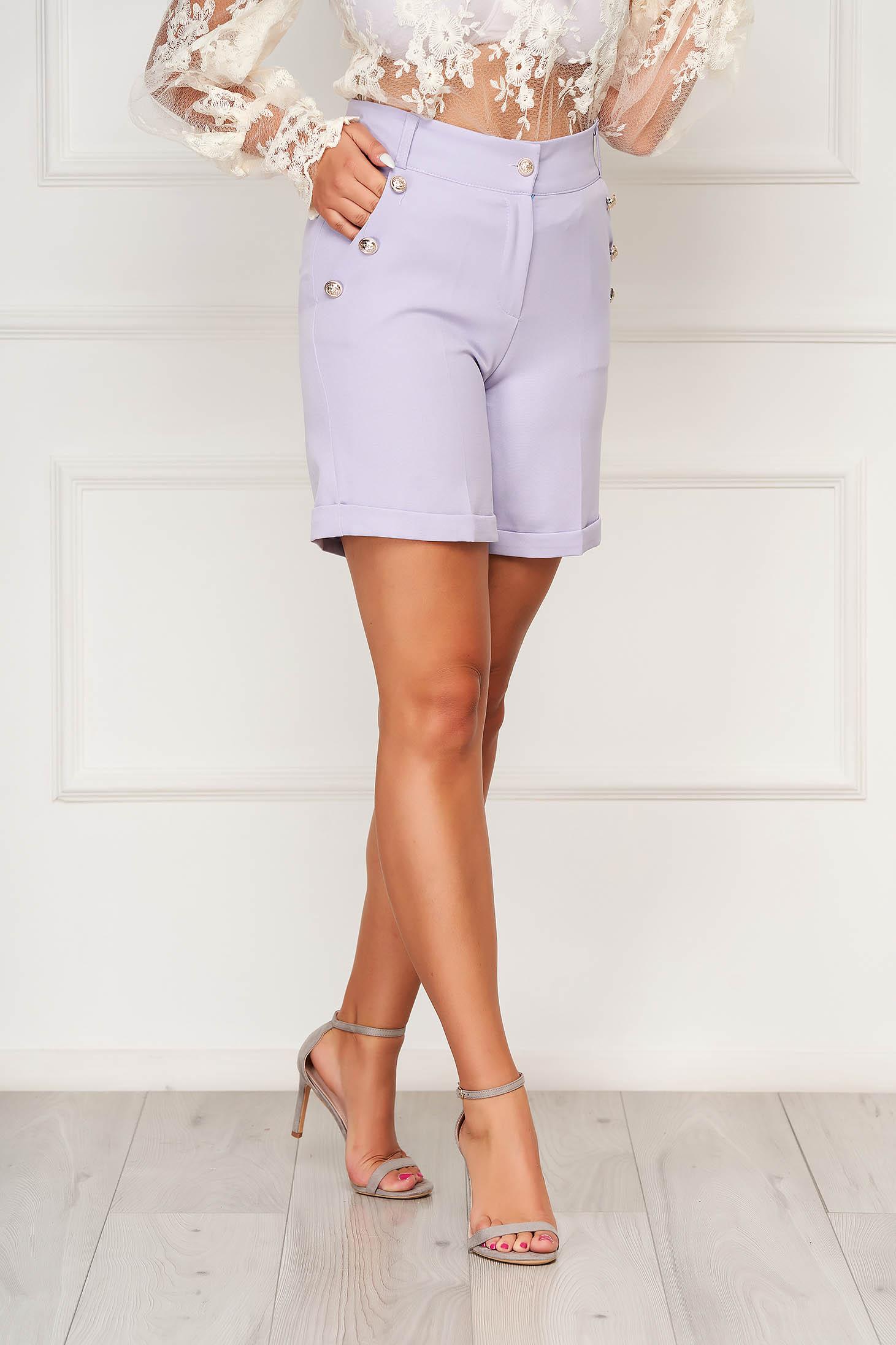 Lila casual zsebes szűk szabású rövidnadrág rugalmas szövetből