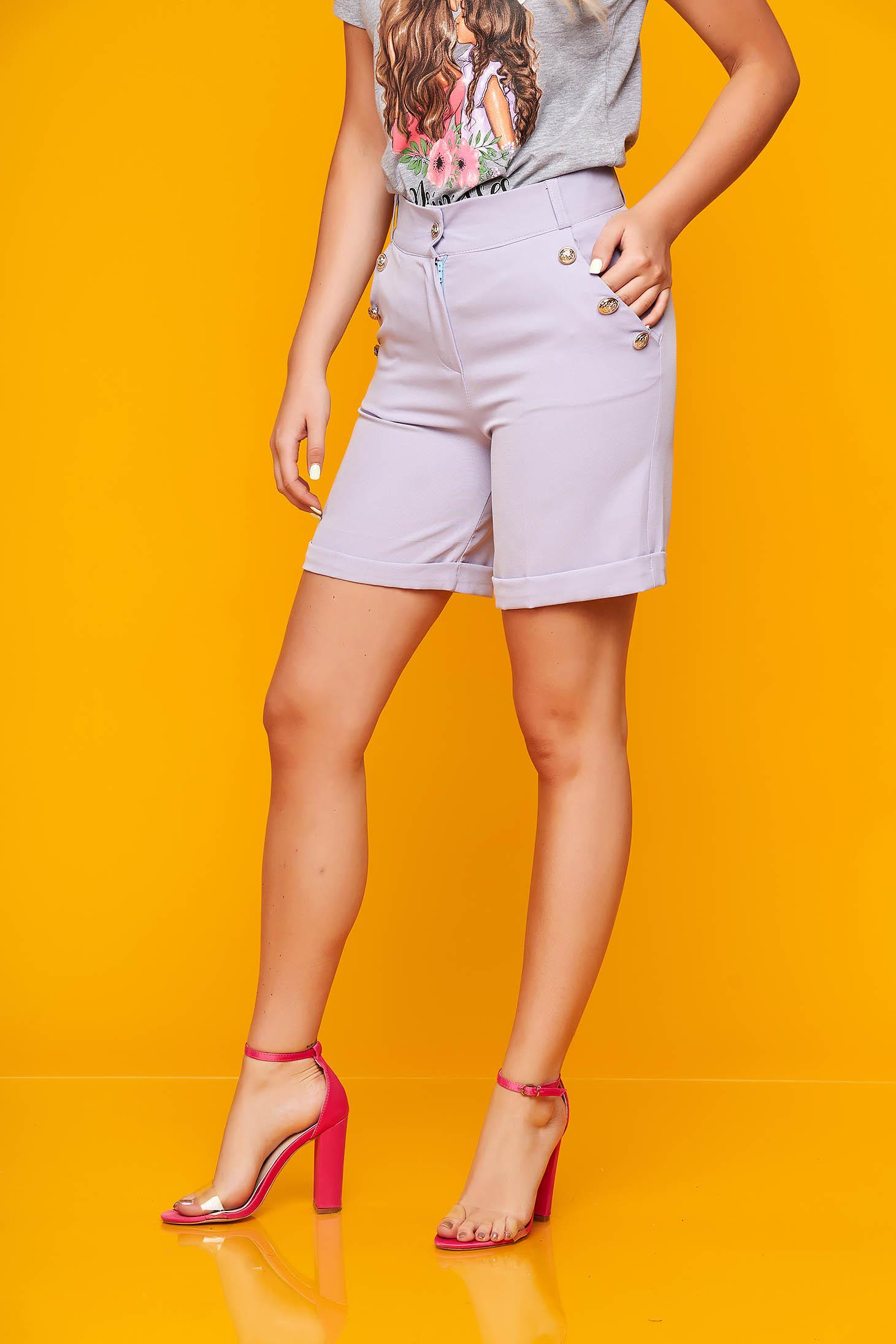 Pantalon scurt SunShine lila casual mulat din stofa elastica cu buzunare
