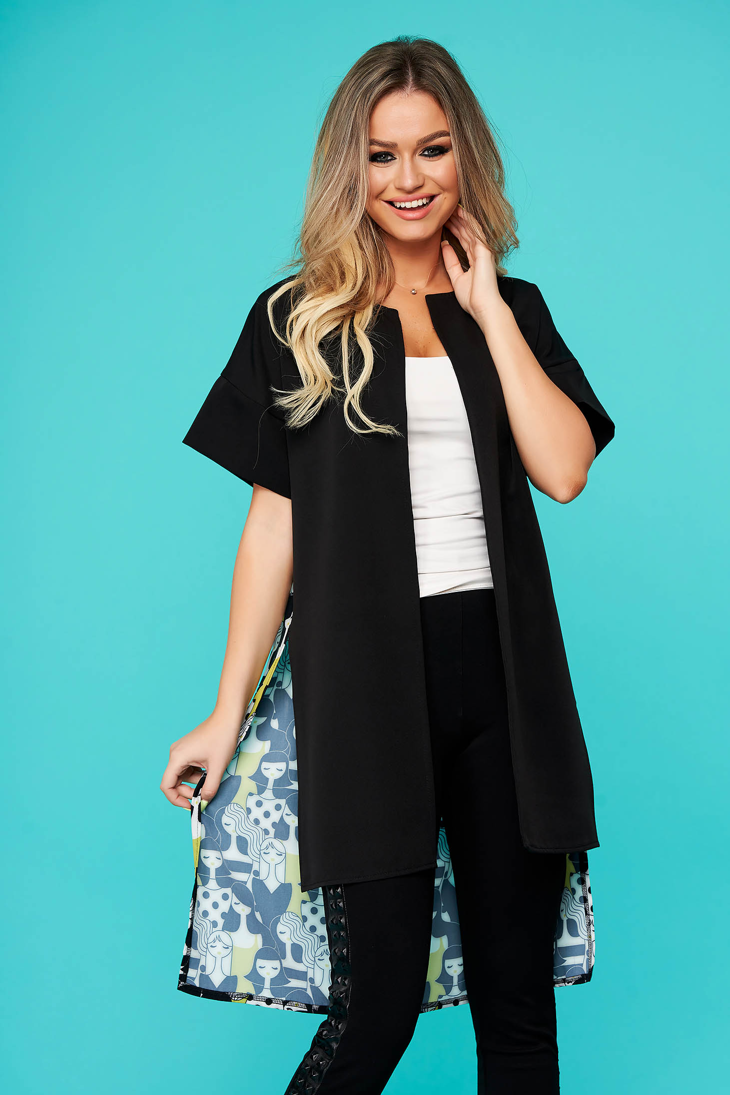 StarShinerS black jacket casual blazer asymmetrical flared thin fabric with graphic details