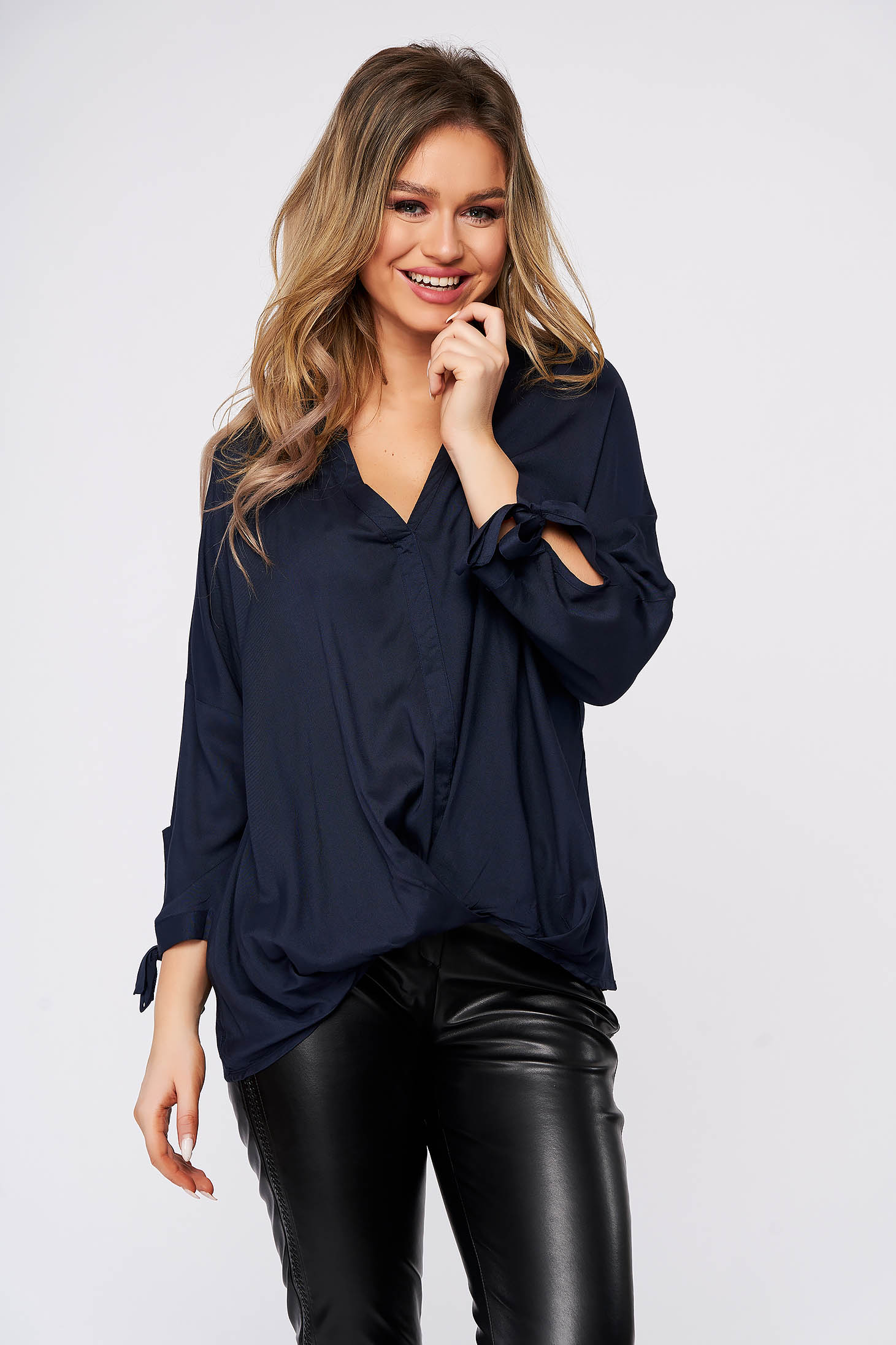 Darkblue women`s blouse casual flared with v-neckline