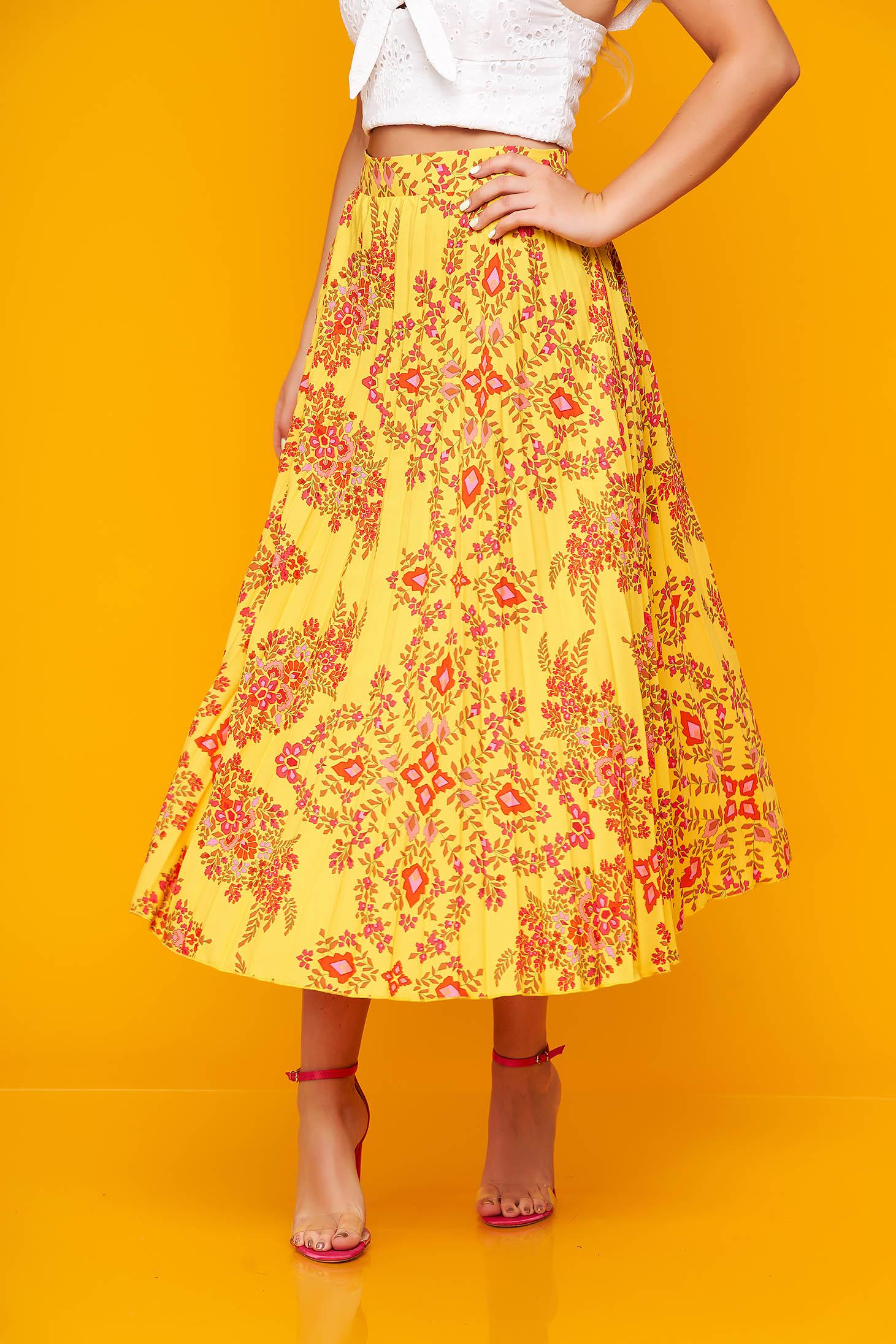 Sárga casual midi rakott, pliszírozott harang szoknya muszlinból