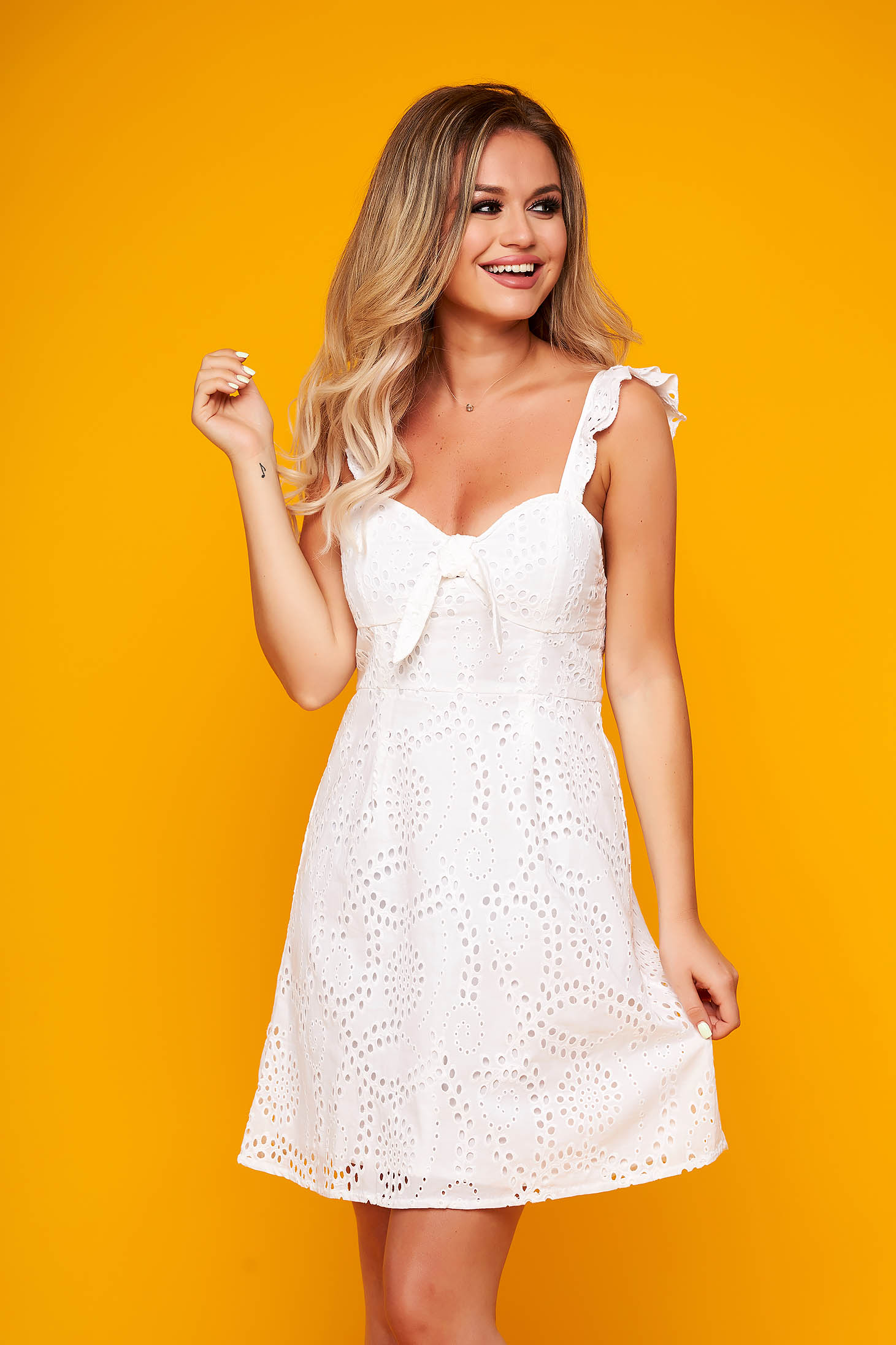 White dress daily short cut cotton frilly straps