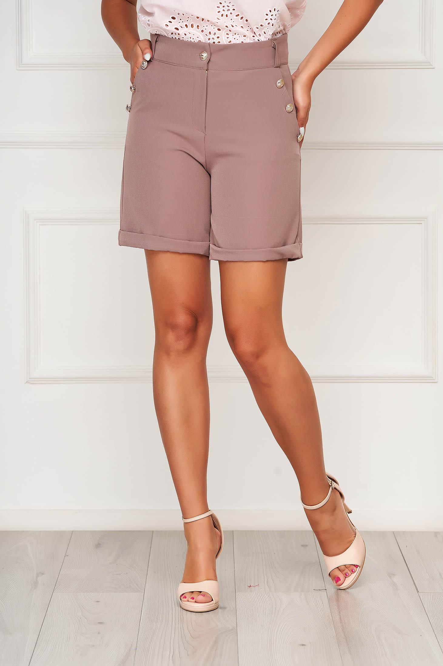 Pantalon scurt SunShine cappuccino casual mulat din stofa elastica cu buzunare