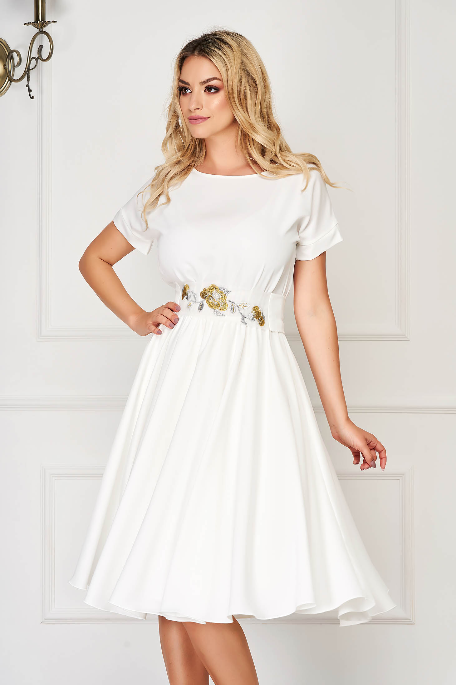 StarShinerS ivory dress elegant midi cloche with embroidery details