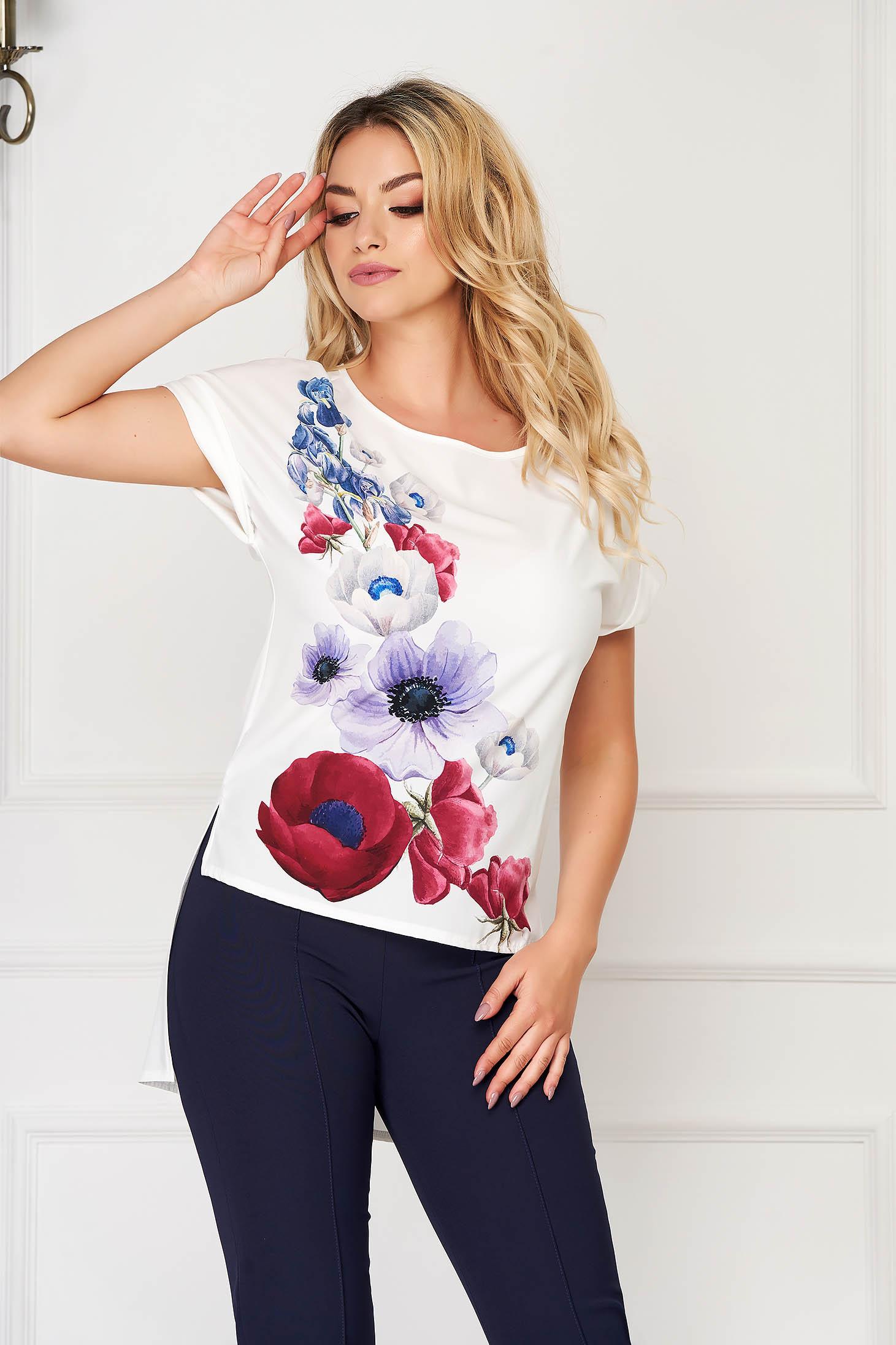 StarShinerS white women`s blouse elegant flared from veil fabric asymmetrical