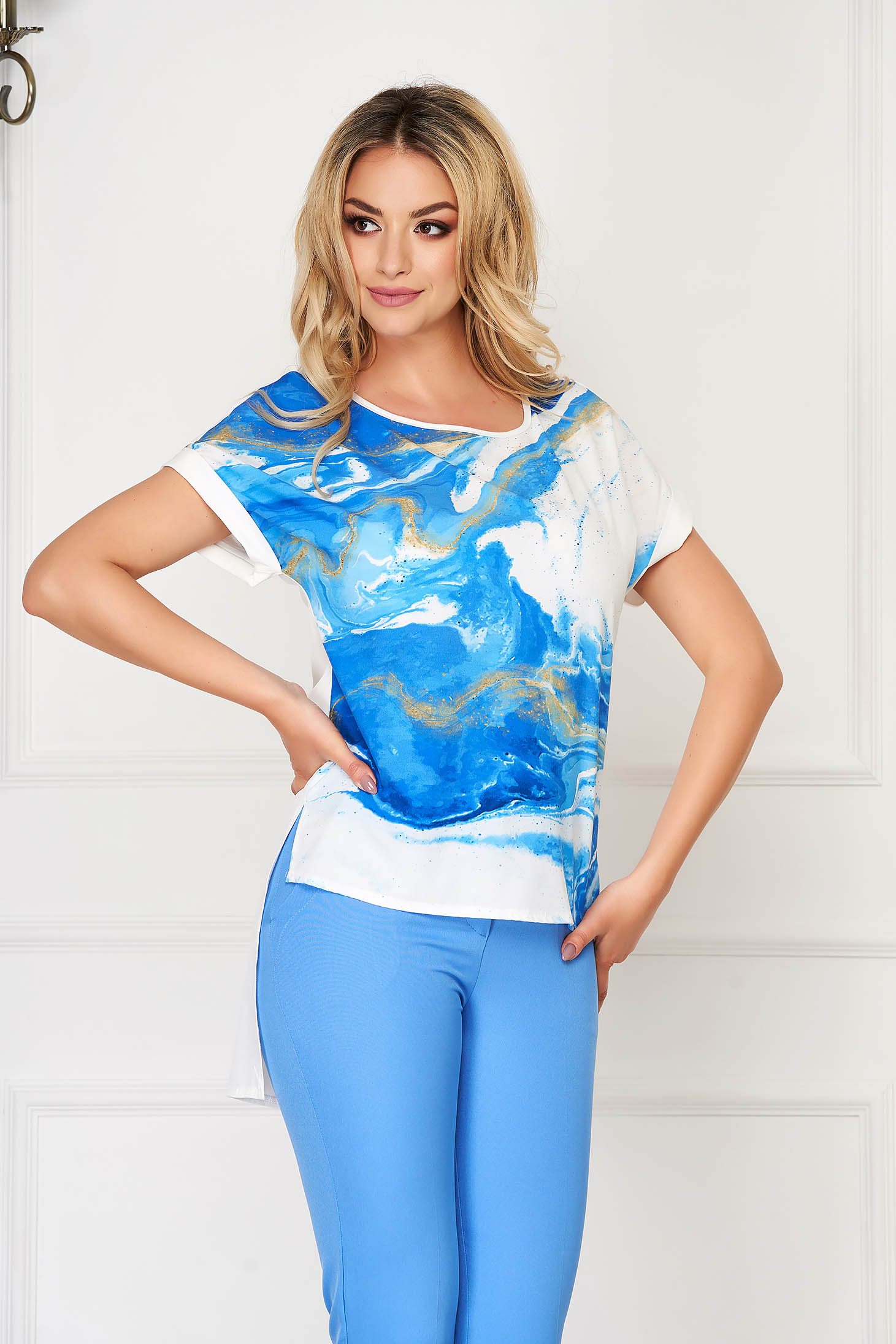 StarShinerS blue women`s blouse elegant flared from veil fabric asymmetrical