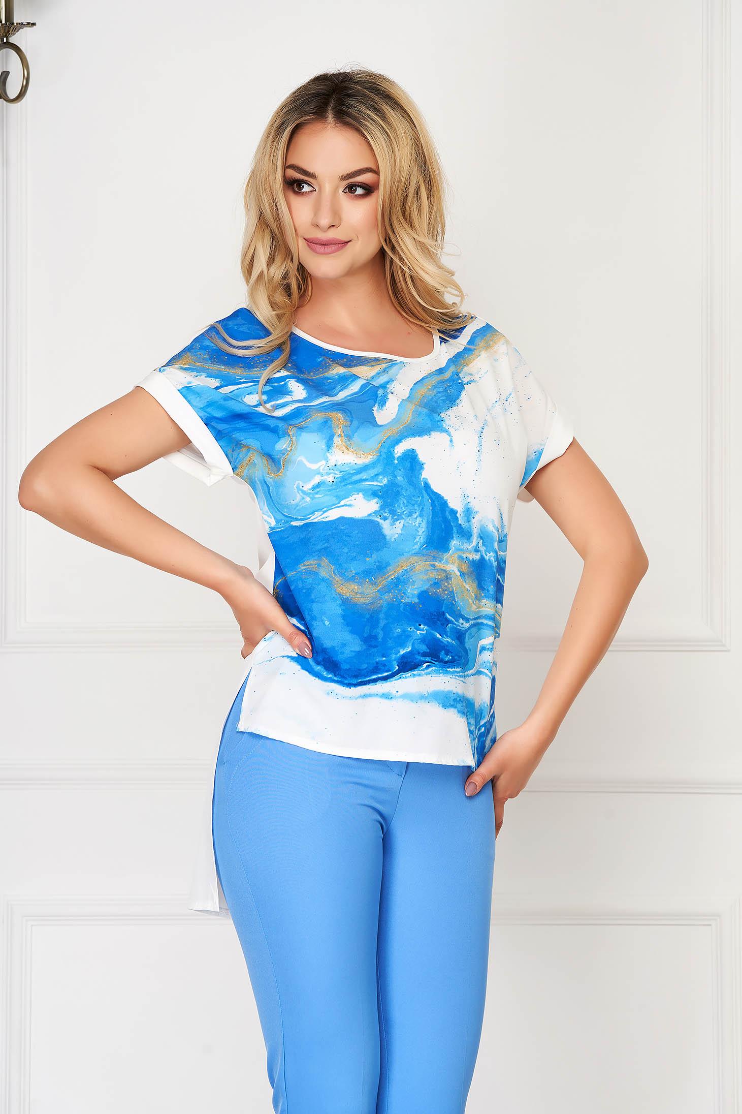 StarShinerS blue women`s blouse elegant flared from veil fabric asymmetrical