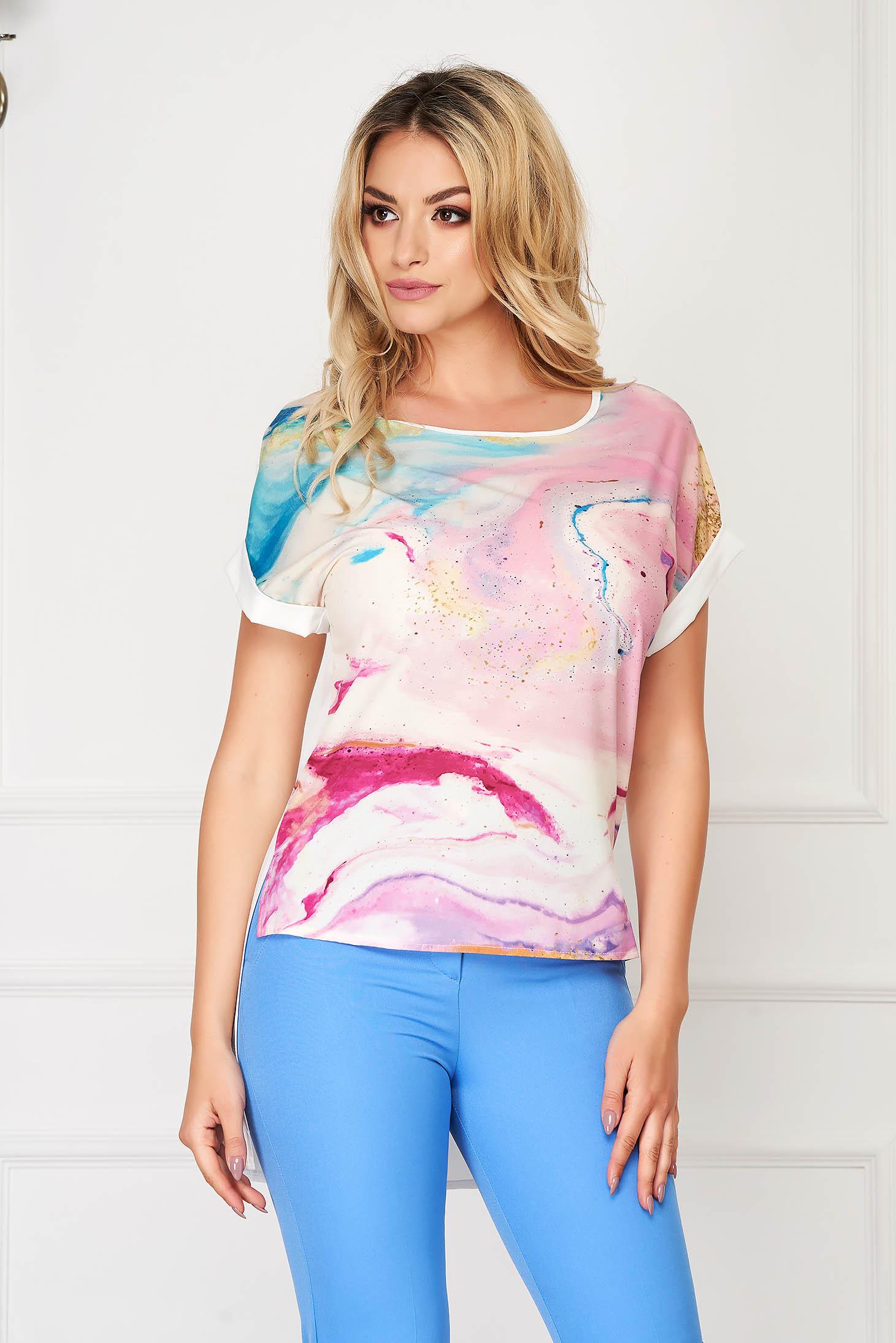 StarShinerS lightpurple women`s blouse elegant flared from veil fabric asymmetrical