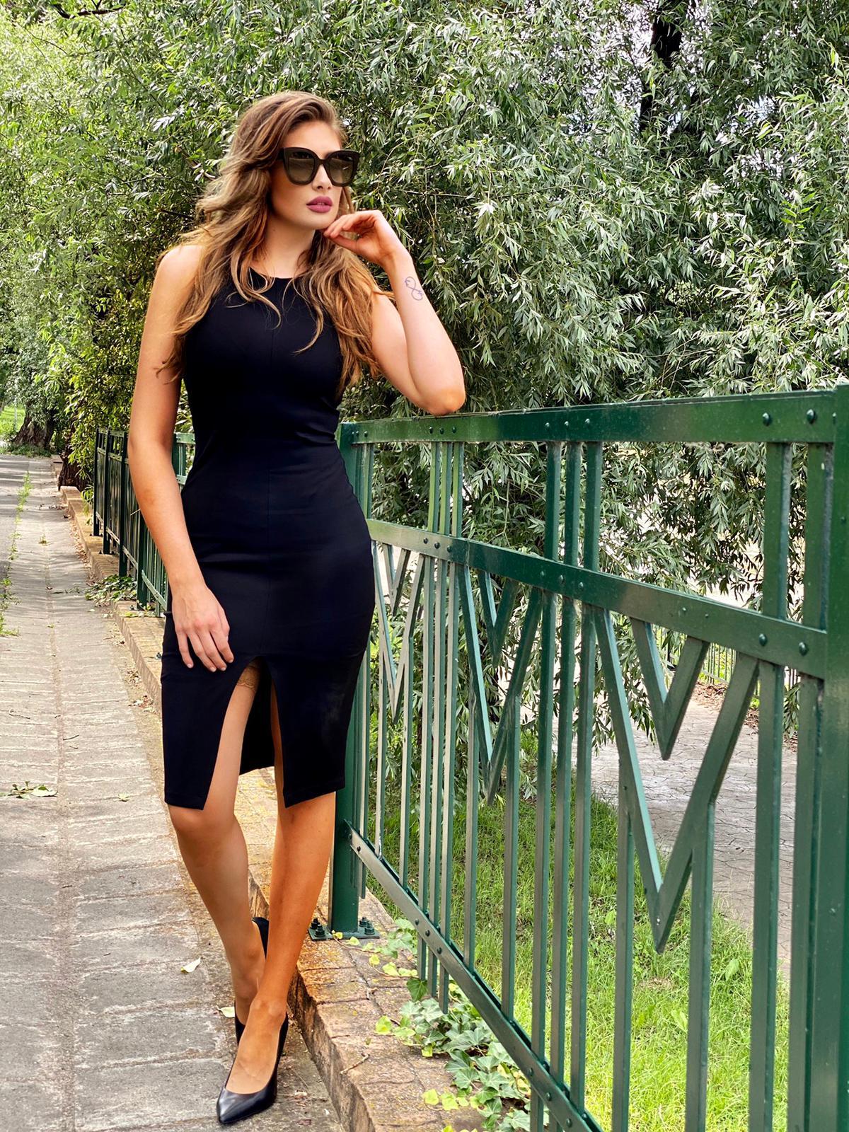 Dress StarShinerS black midi daily pencil jersey frontal slit