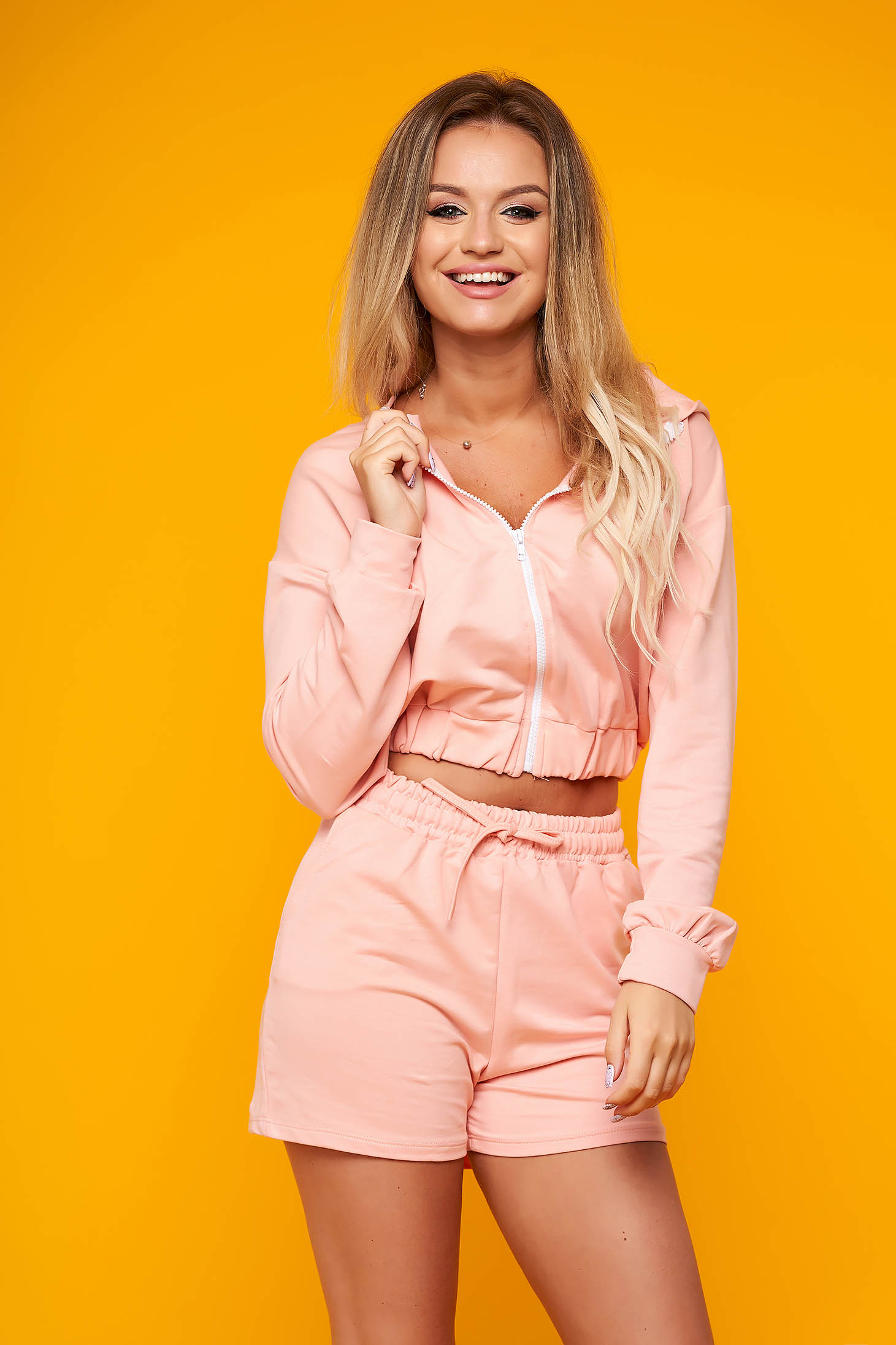 Lightpink sport 2 pieces casual from two pieces with trousers short cut cotton