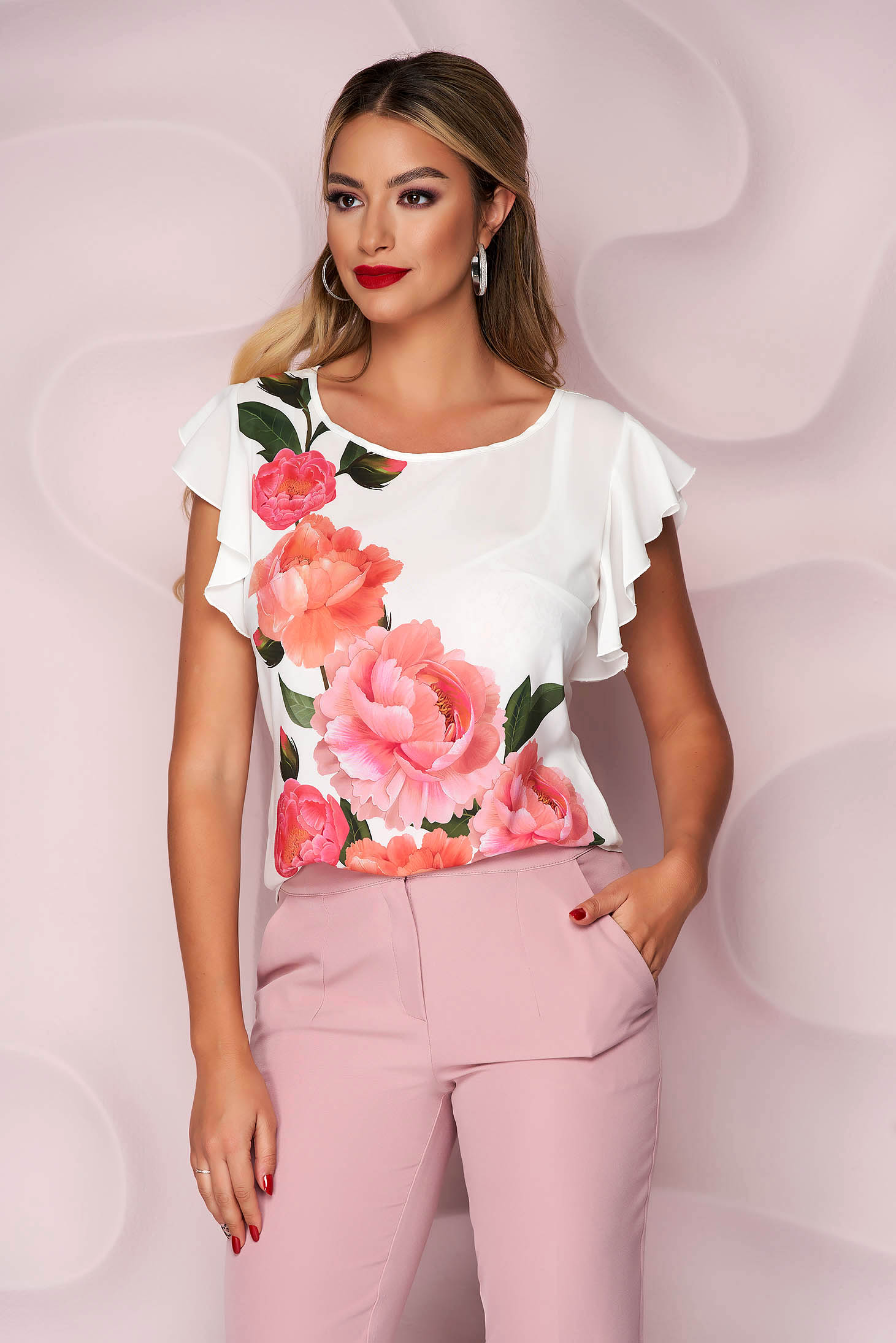StarShinerS white women`s blouse elegant from veil fabric flared with floral print