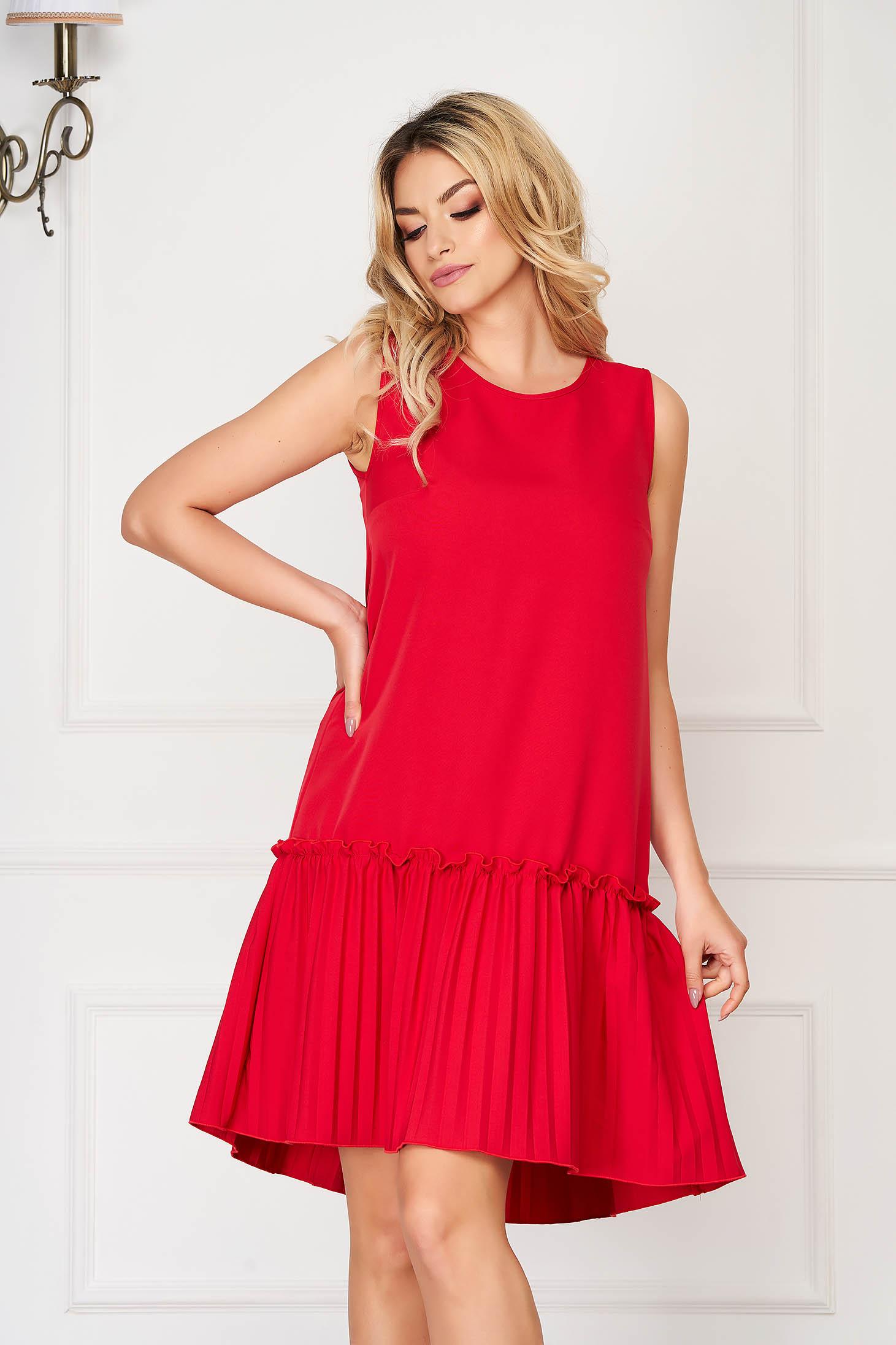 Rochie StarShinerS rosie scurta de zi din stofa elastica cu croi larg fara maneci