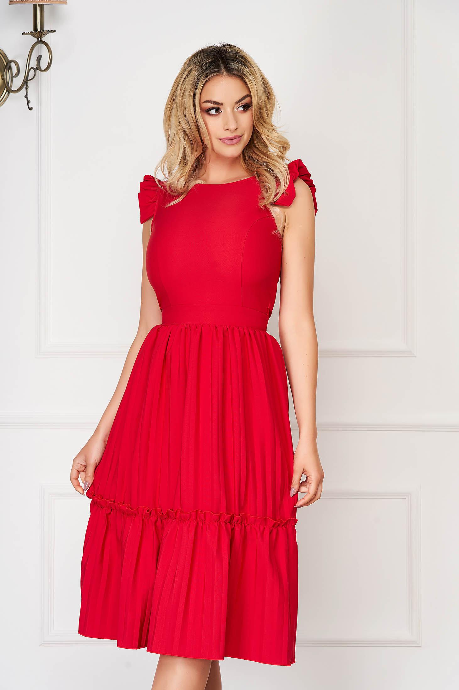 Rochie StarShinerS rosie eleganta midi in clos din stofa elastica cu spatele decupat