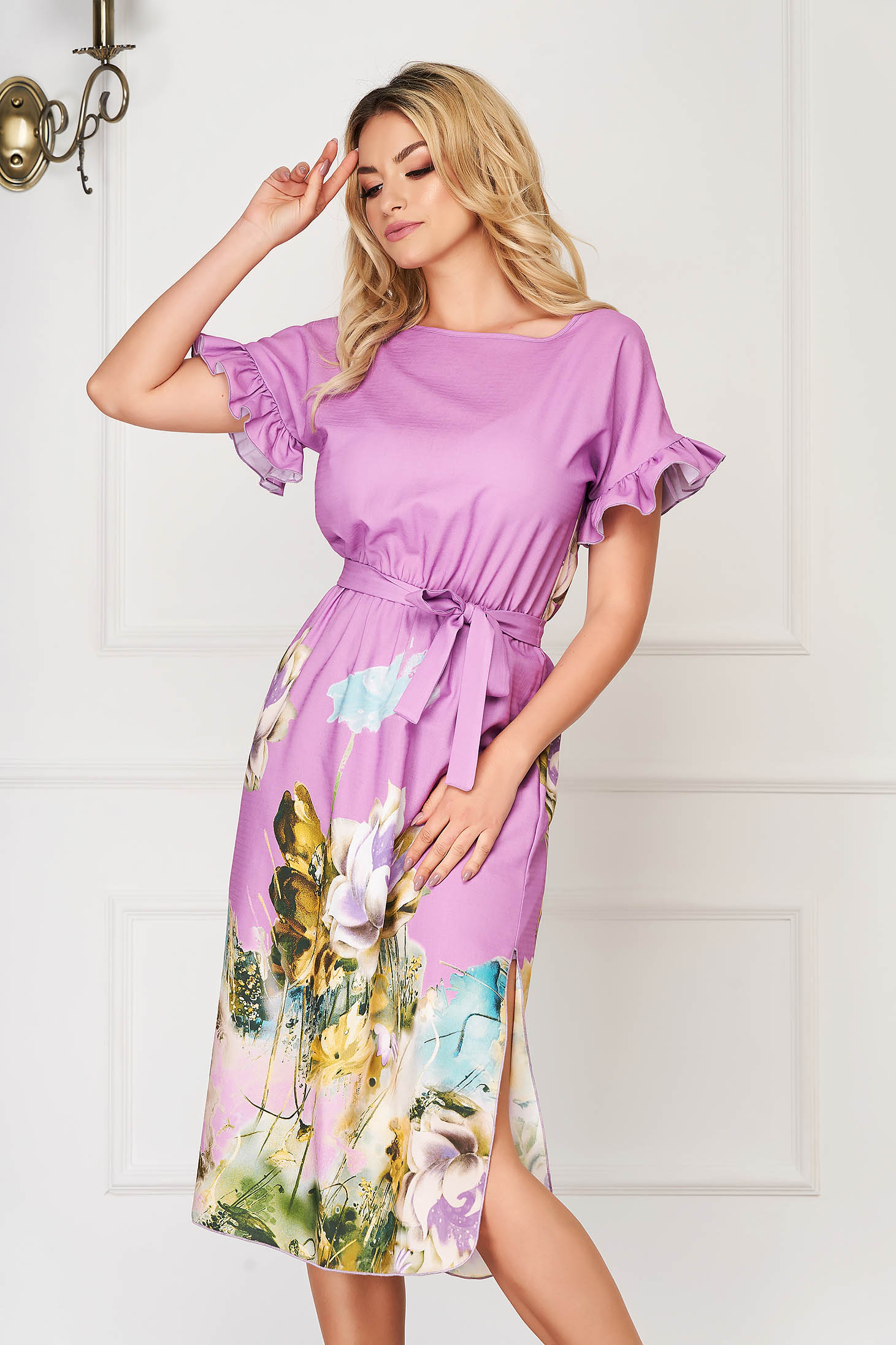 StarShinerS purple dress midi daily cloche poplin, thin cotton with ruffled sleeves
