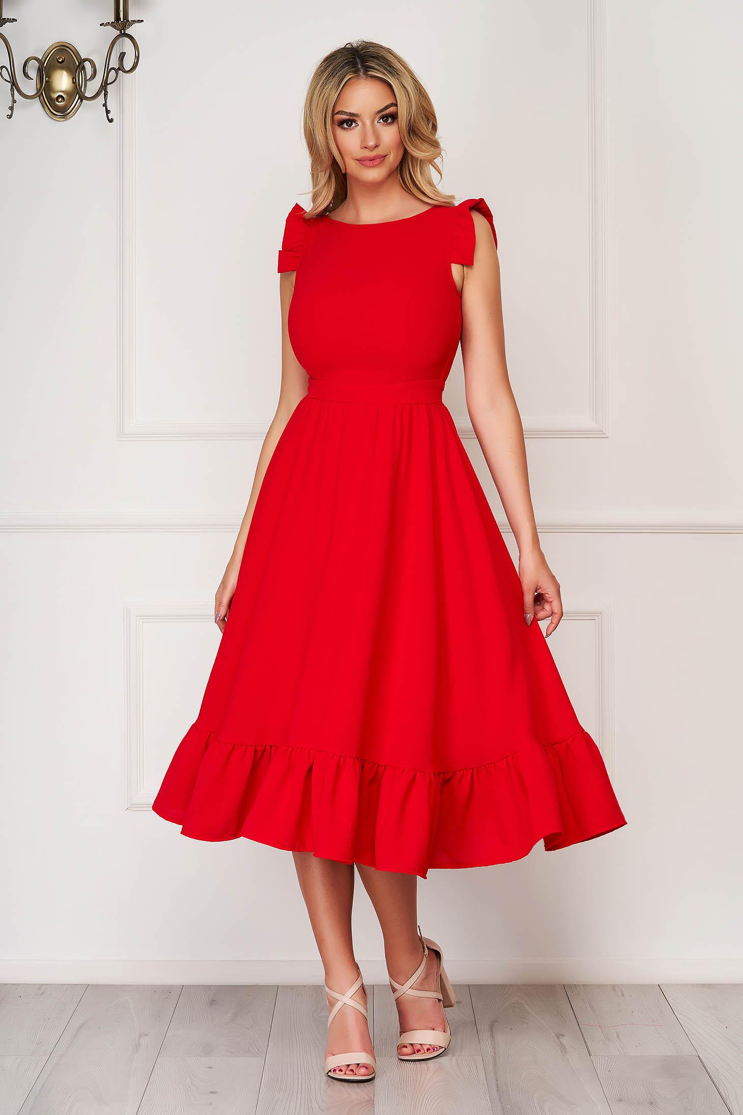 Rochie StarShinerS rosie eleganta midi din stofa creponata cu volanase