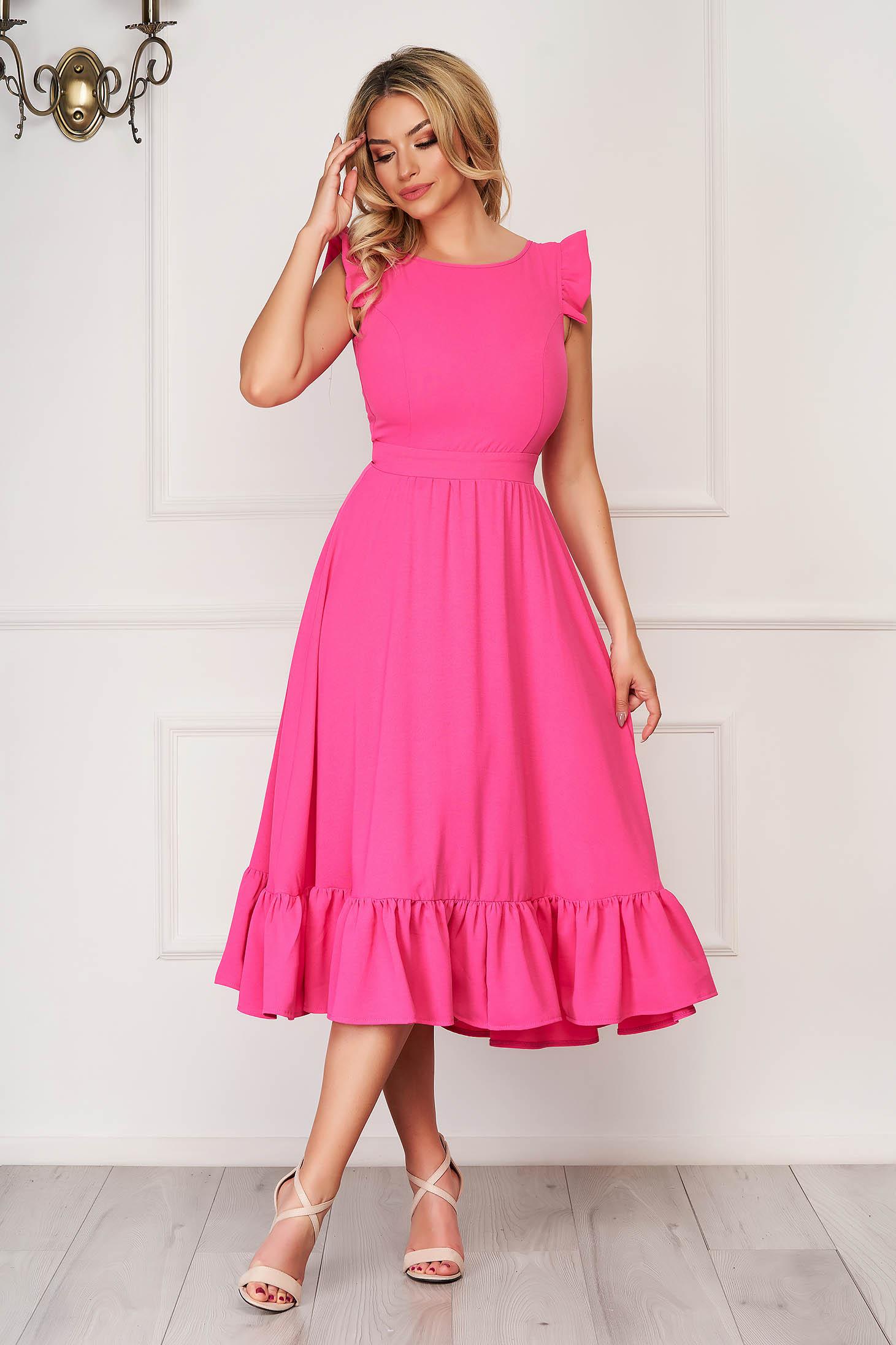 Rochie StarShinerS roz eleganta midi din stofa creponata cu volanase