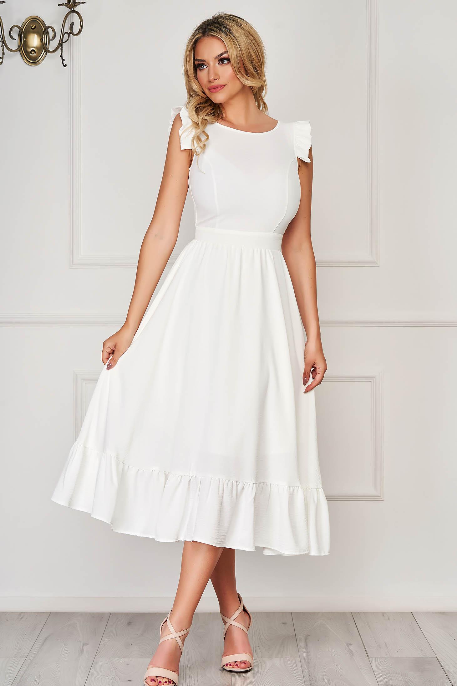 Fehér StarShinerS elegáns midi ruha szövetből