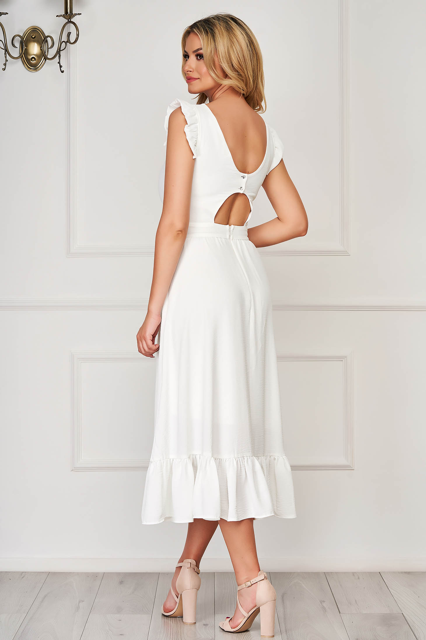 White elegant midi StarShinerS dress cloth