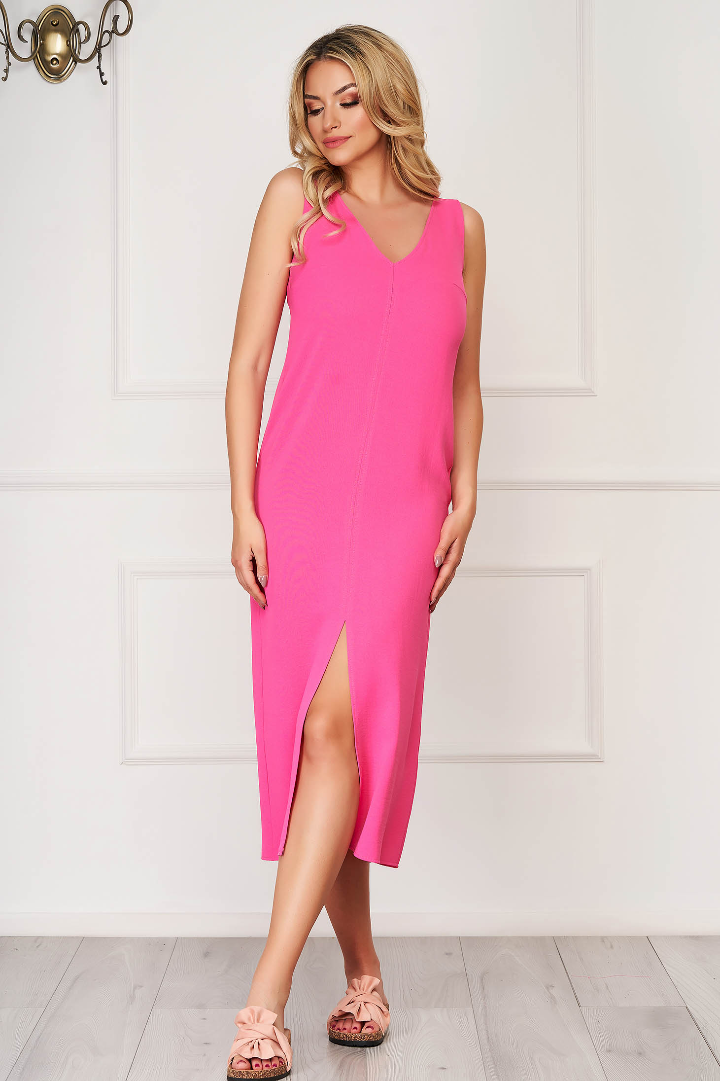 Pink midi daily StarShinerS flared sleeveless dress