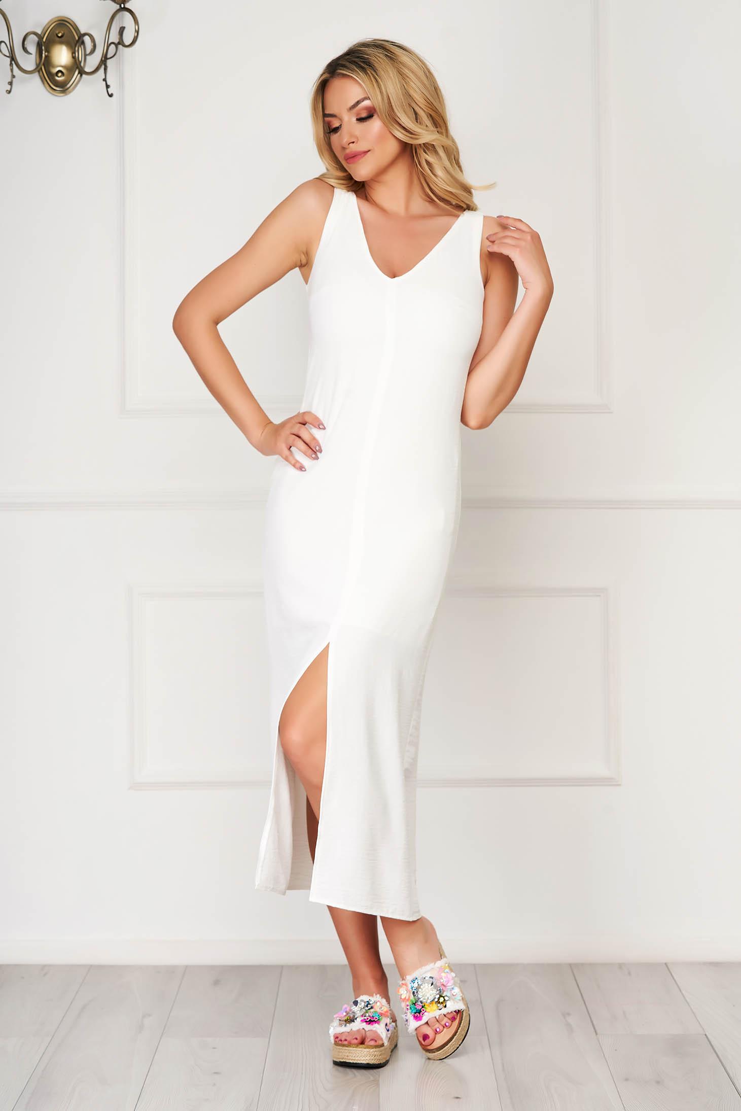 Fehér StarShinerS midi hétköznapi ujjatlan bő szabású ruha