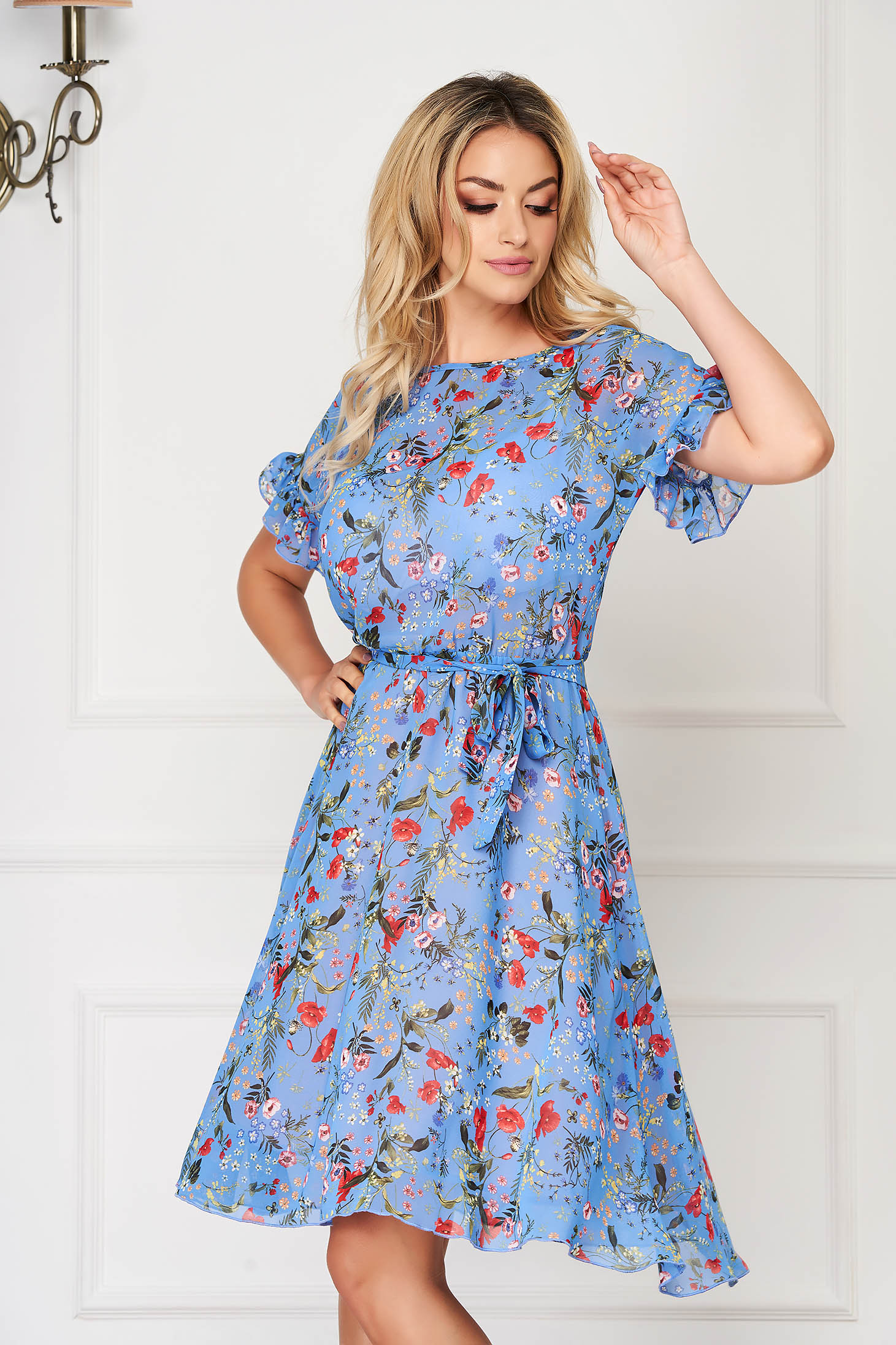 StarShinerS blue dress midi daily cloche with ruffled sleeves from veil fabric